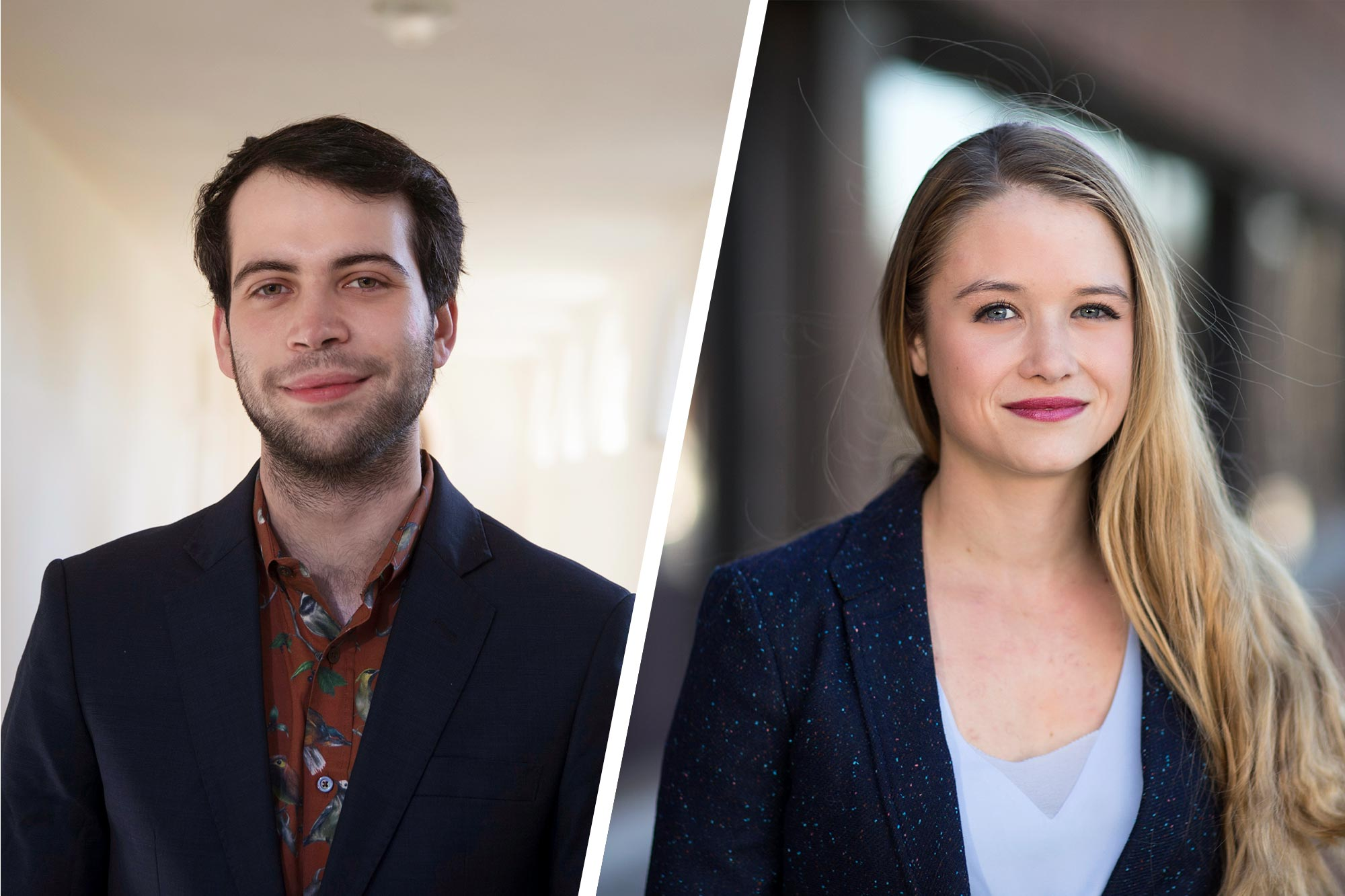 Abraham Axler will study social policy and political communication at the London School of Economics and Sarah Koch will take Oriental studies and refugee and forced migration studies at the University of Oxford with their Marshall Scholarships. (Photos by Dan Addison, University Communications)