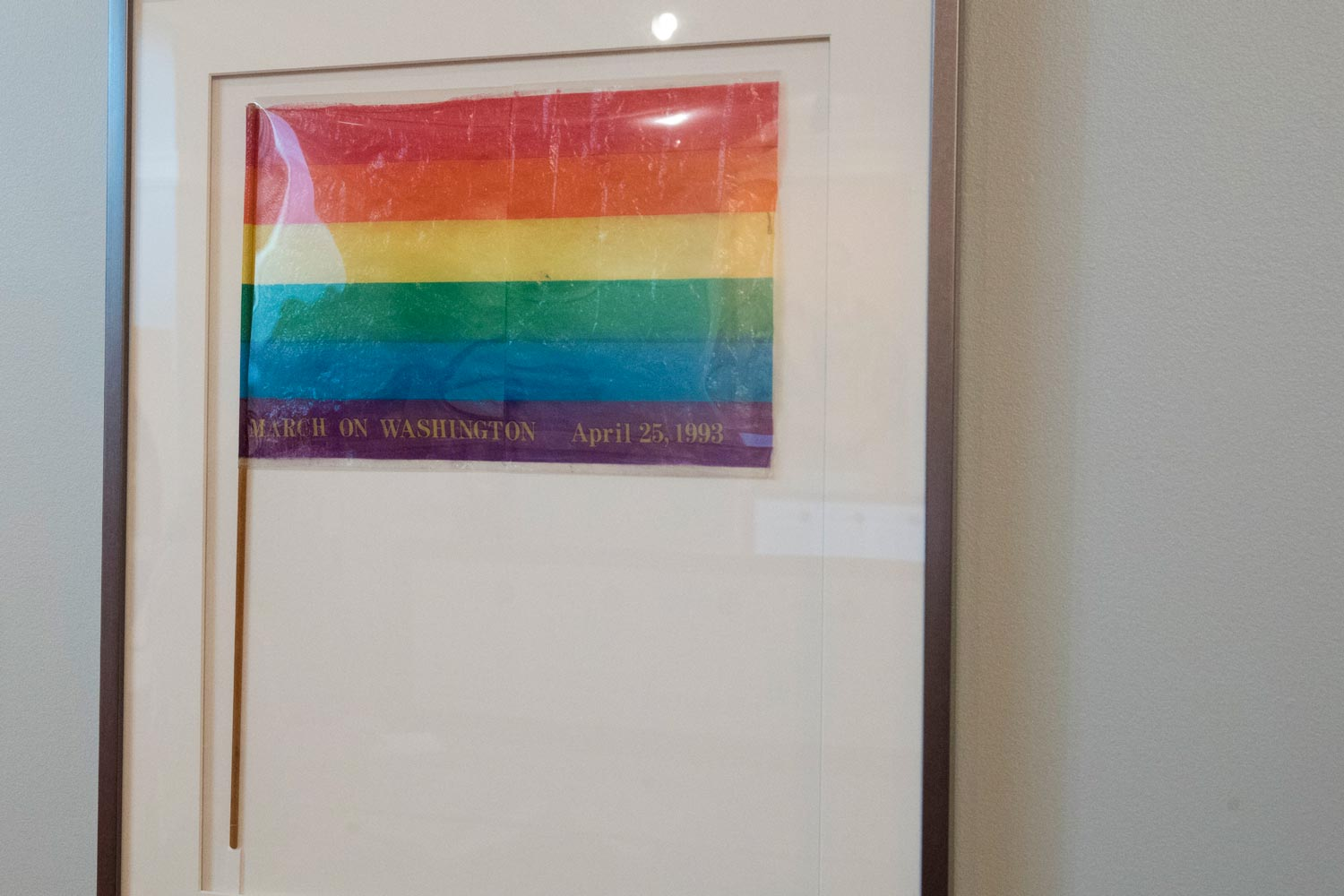 A rainbow flag in a framed case