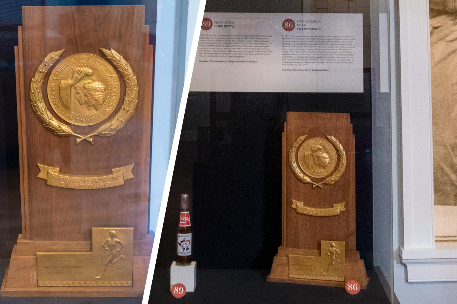 A trophy in a display case