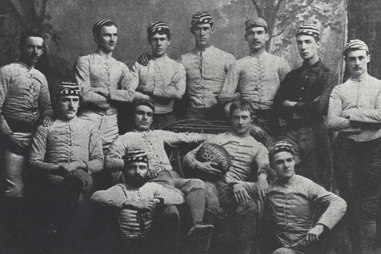 The first UVA football team, which defeated Pantops Academy and Episcopal High School, but lost to Johns Hopkins.