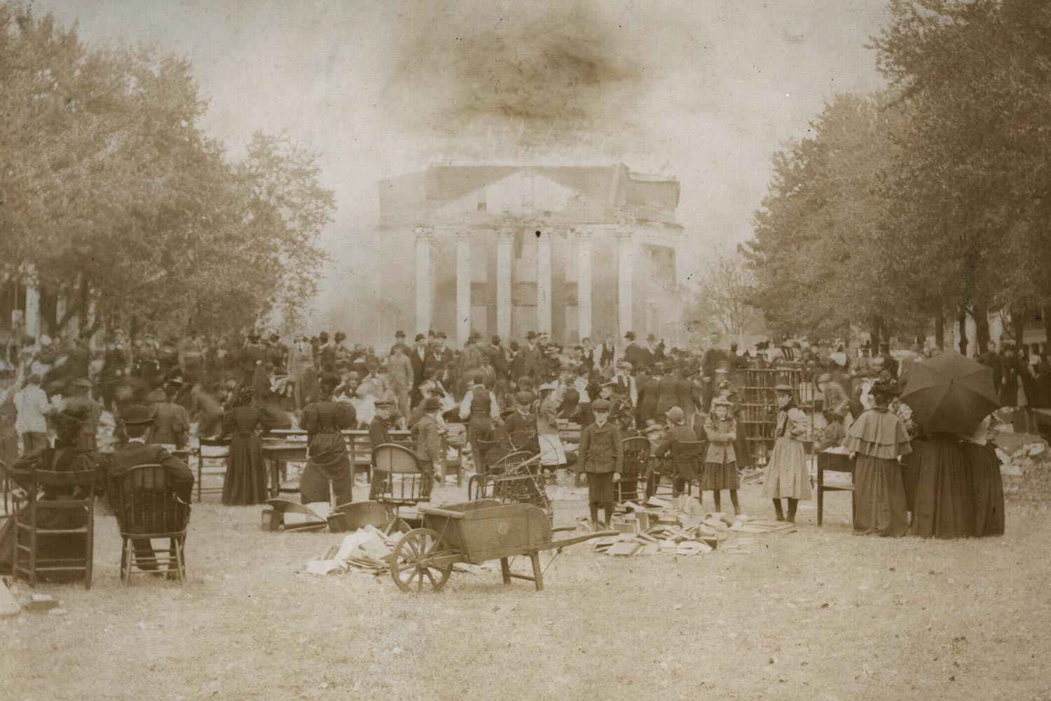 Faulty wiring was blamed for an October 27, 1895 fire that almost destroyed the Rotunda in its entirety.