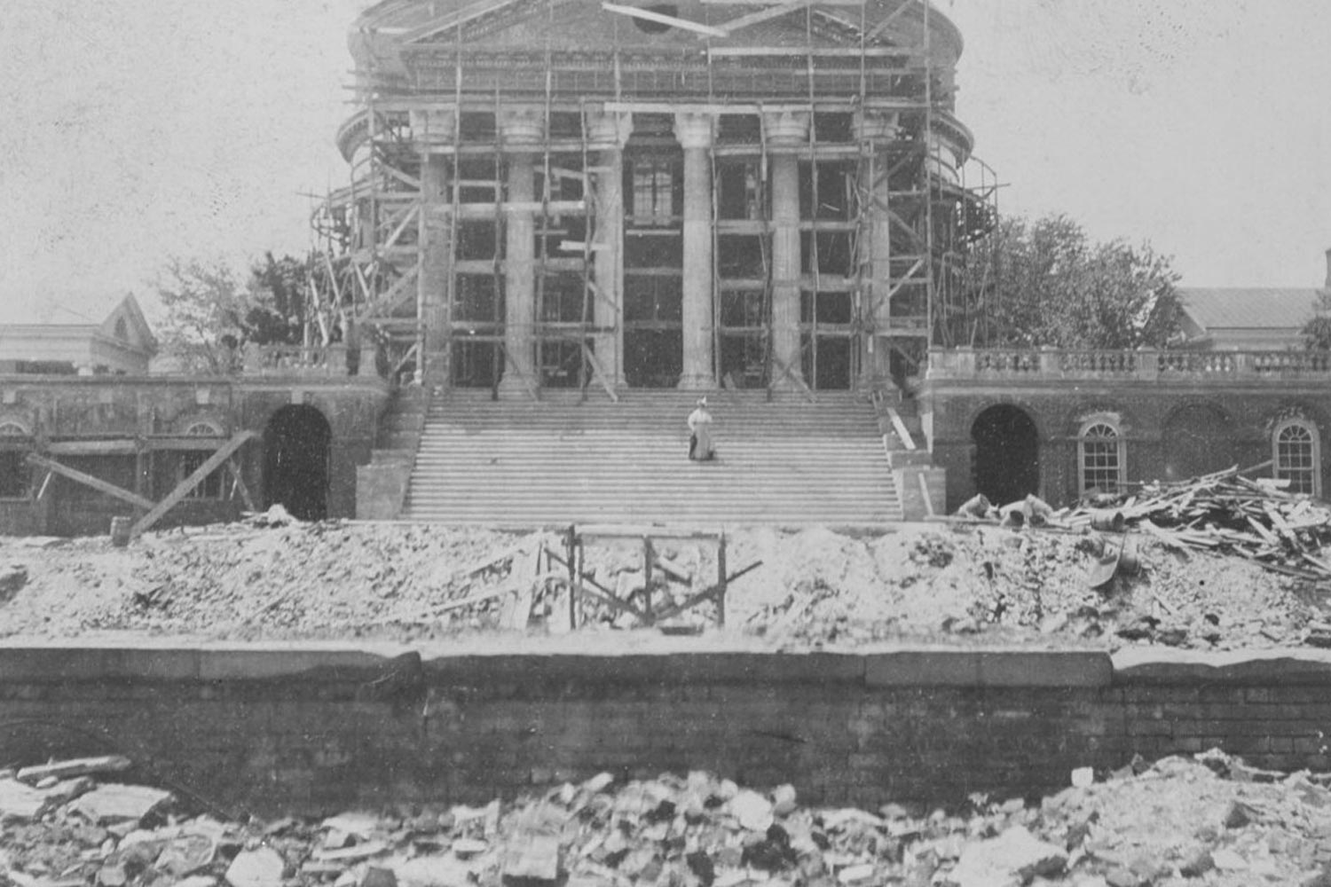 The University rebuilt the Rotunda using plans from famed New York architect Stanford White, who also designed the buildings the enclosed the South Lawn and Carr's Hill, the official residence of the president.
