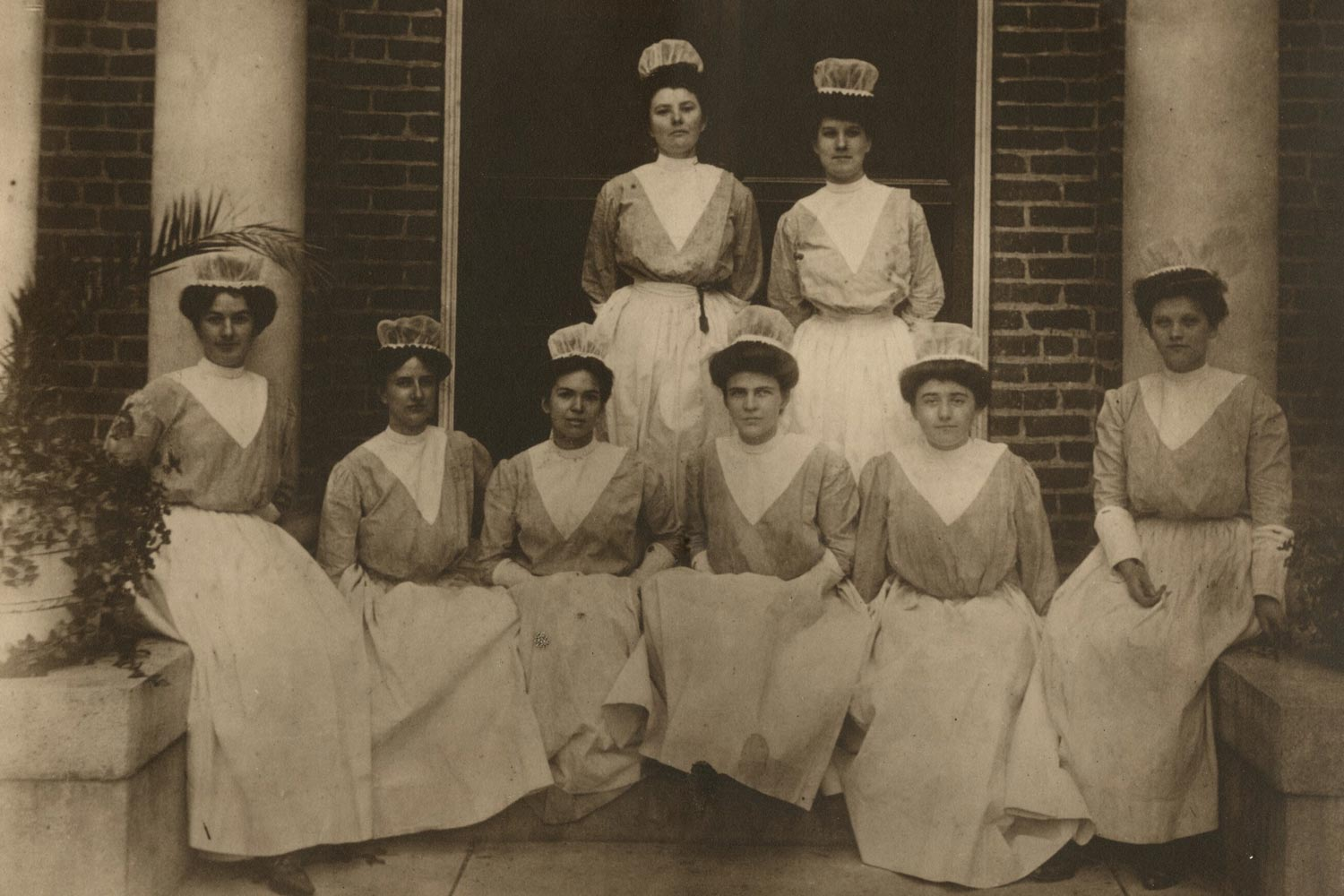 The School of Nursing's classes of 1905 through 1908. Women were present on Grounds long before full coeducation, but were restricted to only a few fields of study.
