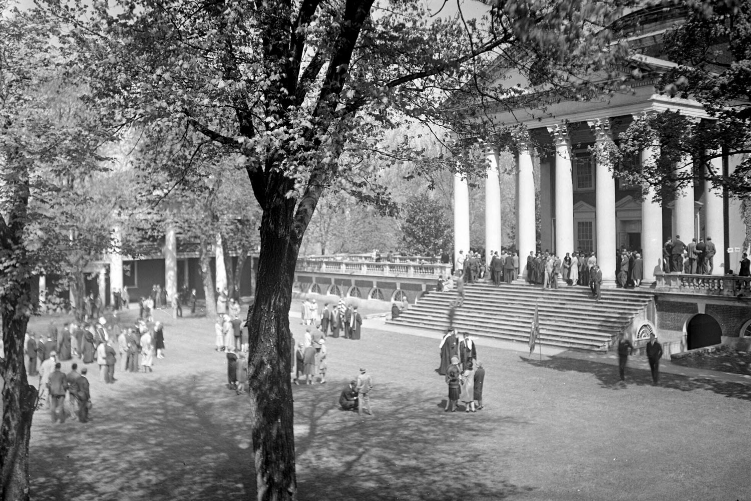 The Rotunda during Final Exercises. At the time, graduates processed from the Rotunda to the McIntire Amphitheatre, where the official ceremony was held until it moved to the South Lawn in 1953.