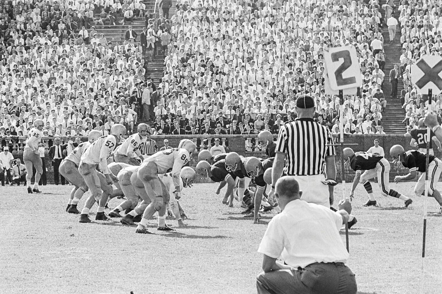 UVA played Virginia Tech in October 1964 at Scott Stadium, with the Cavaliers winning 20-17.