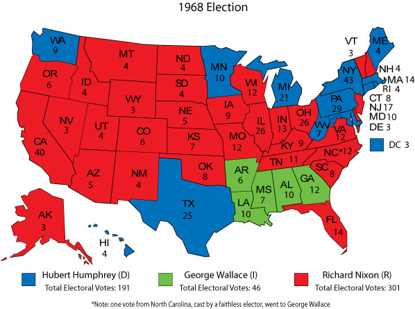 The tumultuous 1968 presidential campaign featured a third-party nominee, George Wallace, who won the electoral votes of five Southern states.
