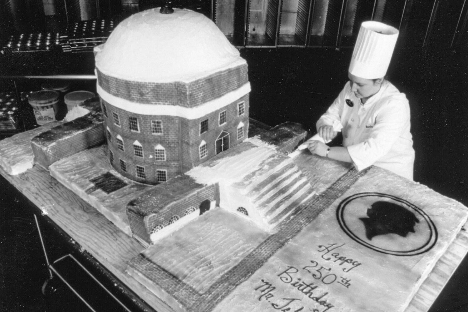 This giant Rotunda cake was presented in honor of Thomas Jefferson's 250th birthday in 1993.