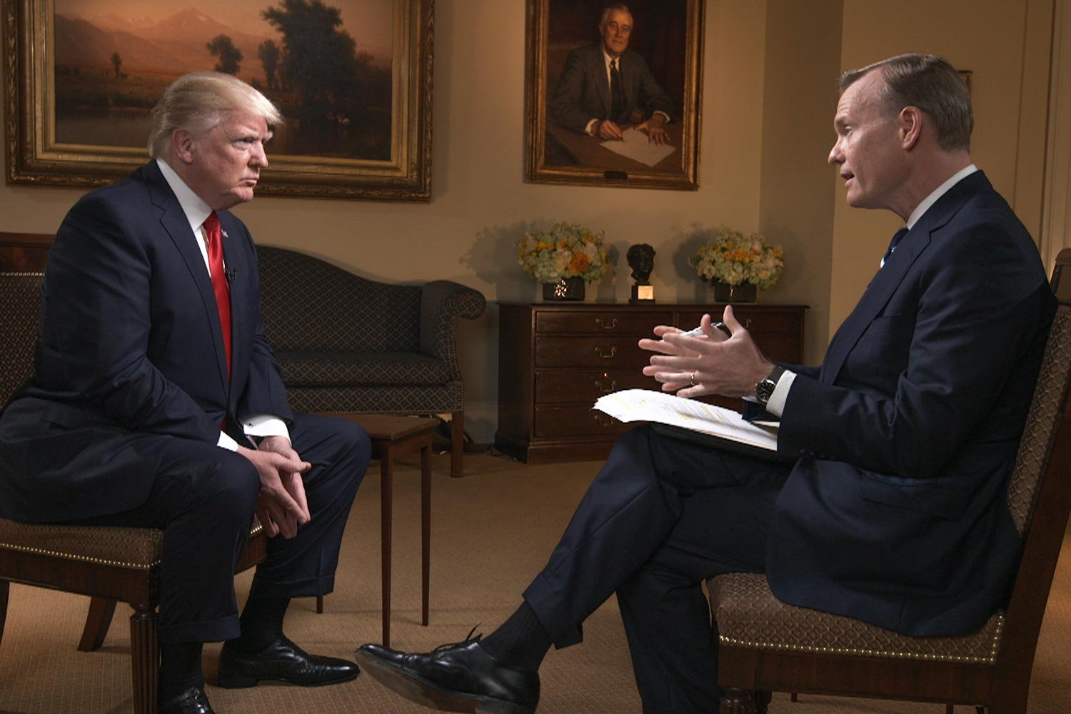 Dickerson interviewed President Trump in the Roosevelt Room at the White House on Trump's first 100 days in office.