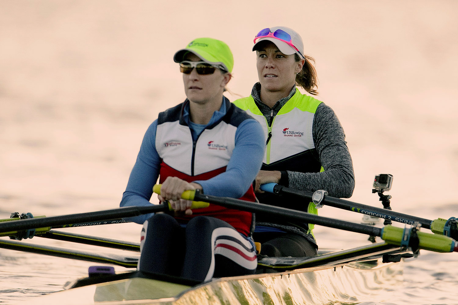 O'Leary, right, and her teammate, Ellen Tomek, qualified for Rio by winning the women's double sculls event at the U.S. Olympic Trials. (Photo by Ed Moran/US Rowing)