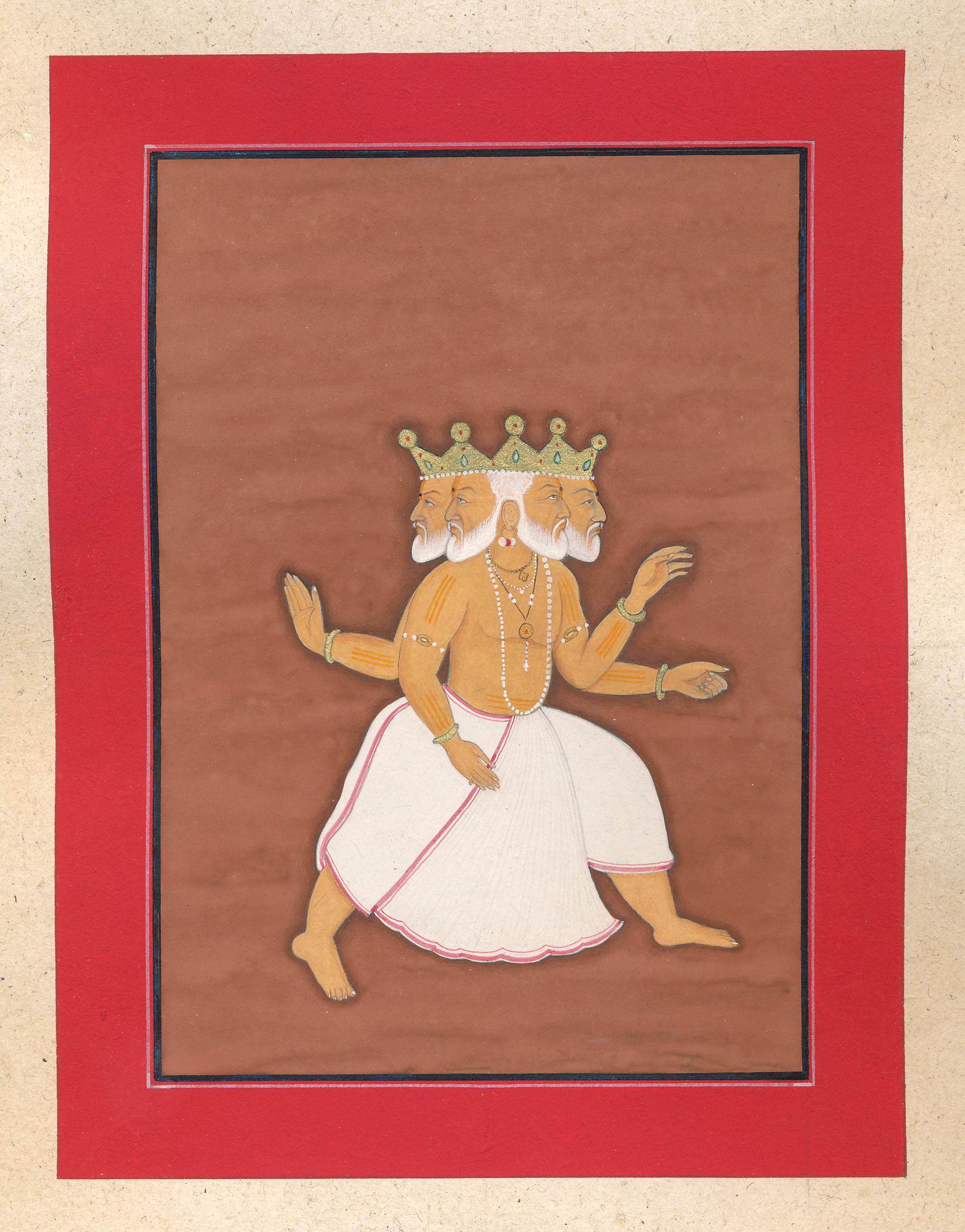 Mumtaz's depiction of the Hindu god Brahma, the four-headed god of creation