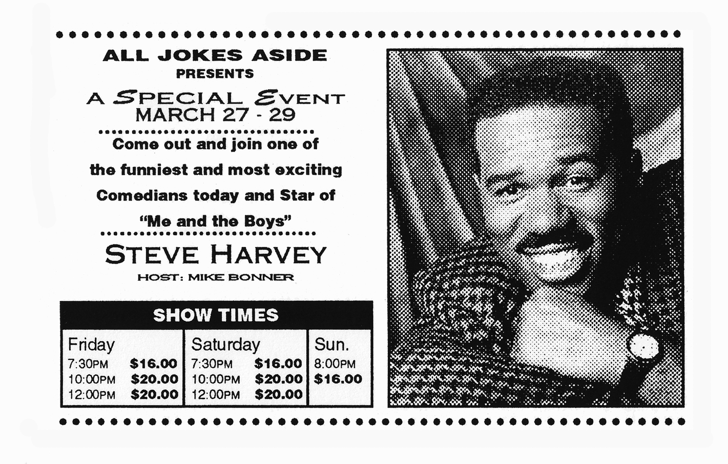 A flyer for a show by Steve Harvey, then an up-and-coming comedian performing at Lambert's club.