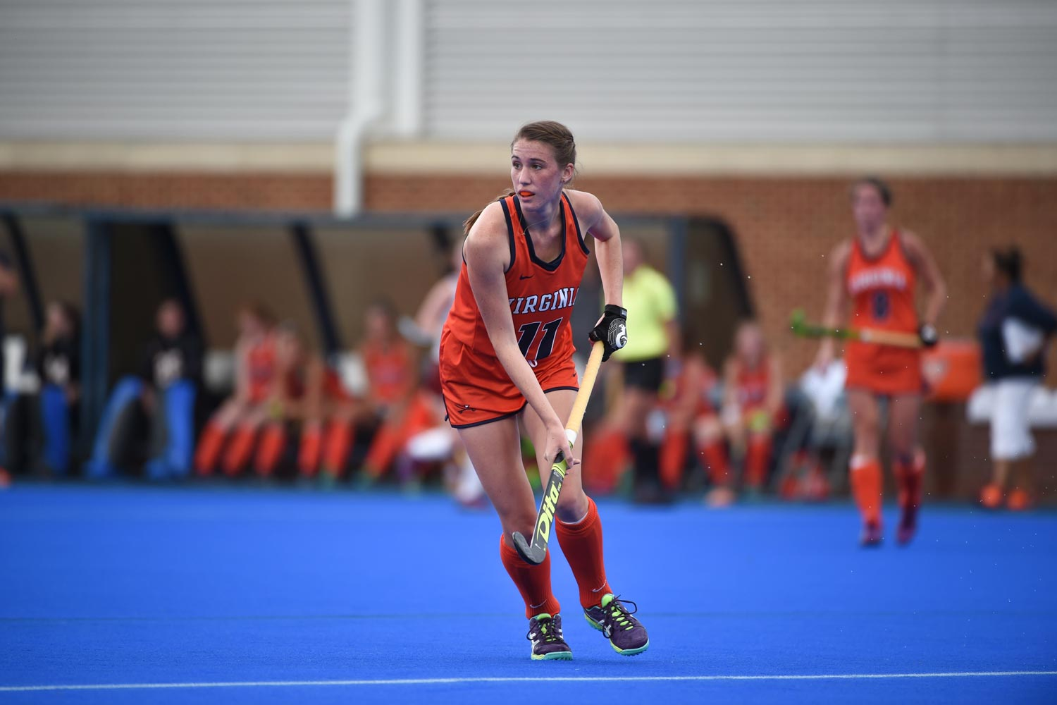 UVA second-year Catesby Willis wears the same No. 11 for the field hockey team that Phoebe wore during her playing days.