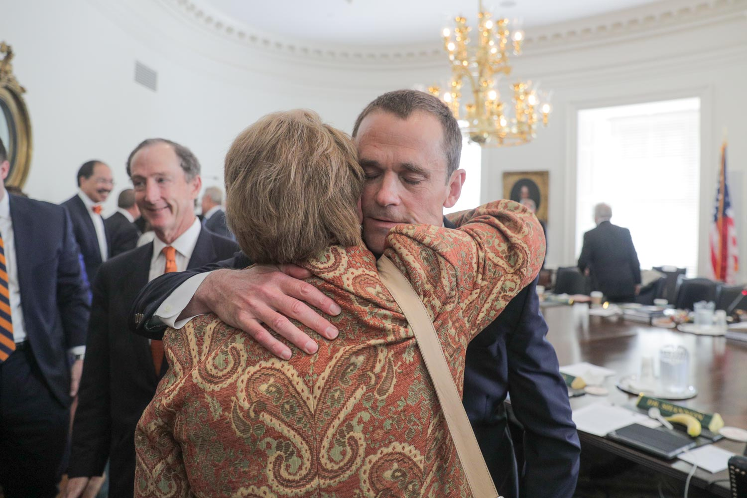 UVA President Teresa A. Sullivan embraced James Ryan shortly after he was named her successor on Friday. (Photo by Sanjay Suchak, University Communications)