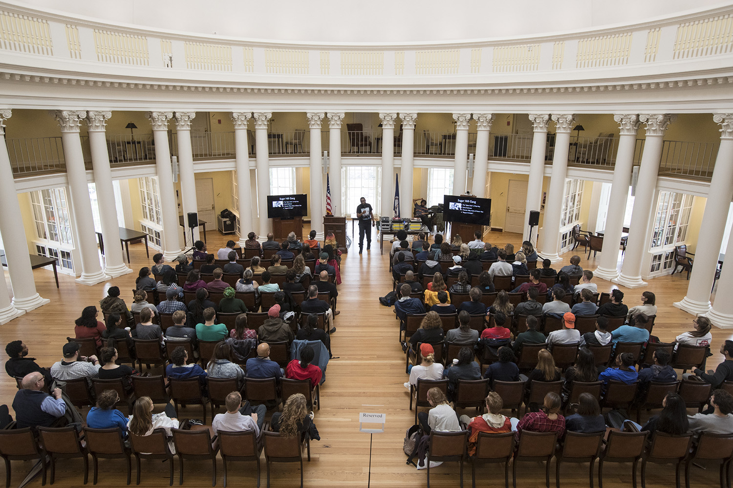 Students, faculty and community members packed the Rotunda's Dome Room for 9th Wonder's talk on the history of hip-hop. (Photo by Dan Addison, University Communications)