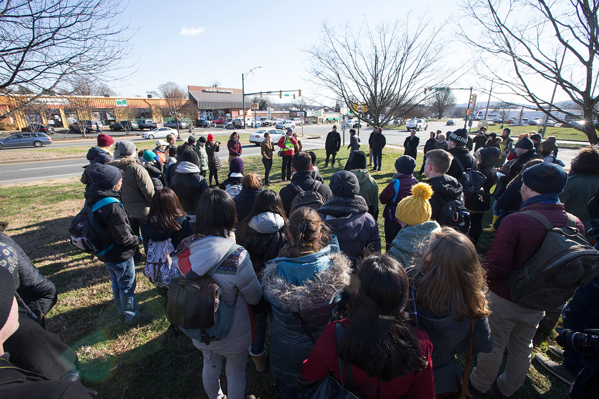 Students and faculty walked the Preston Avenue site to kickoff the Vortex workshop. (Photo by Dan Addison)
