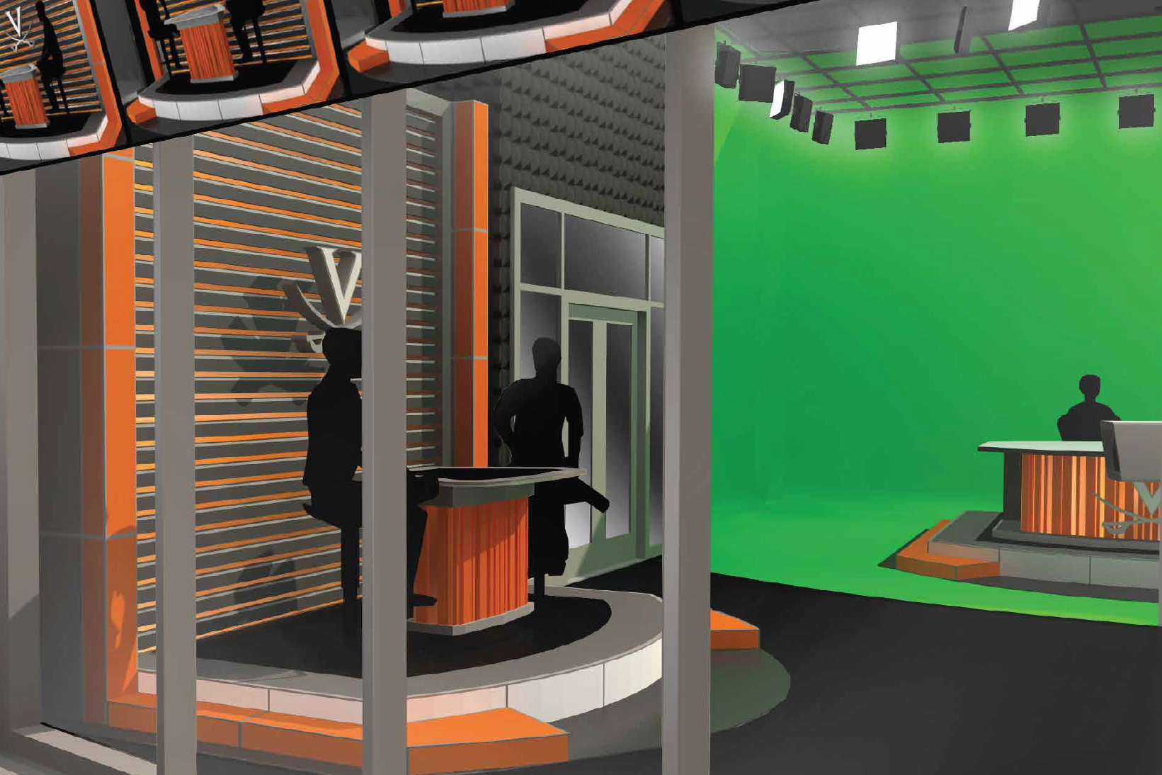 The former Cavalier Team Shop at John Paul Jones Arena is being repurposed into a broadcast studio that will get plenty of use. (Illustration courtesy UVA Athletics)