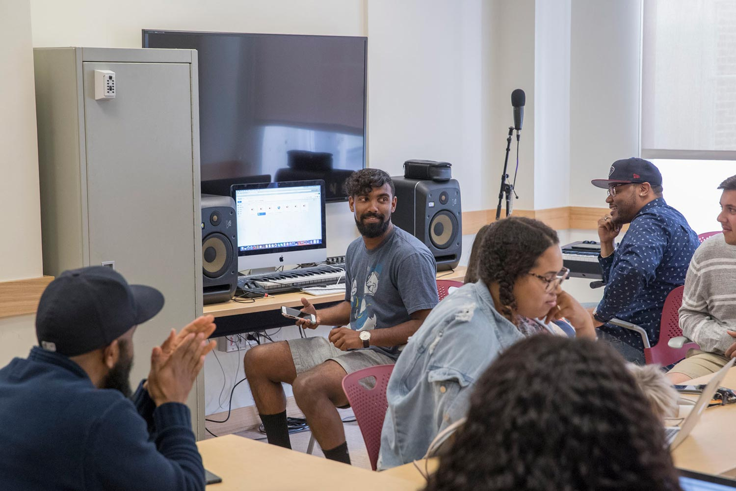 "Carson has transformed New Cabell Hall classroom 398 into a ""Rap Lab"" with space for both production and discussion."