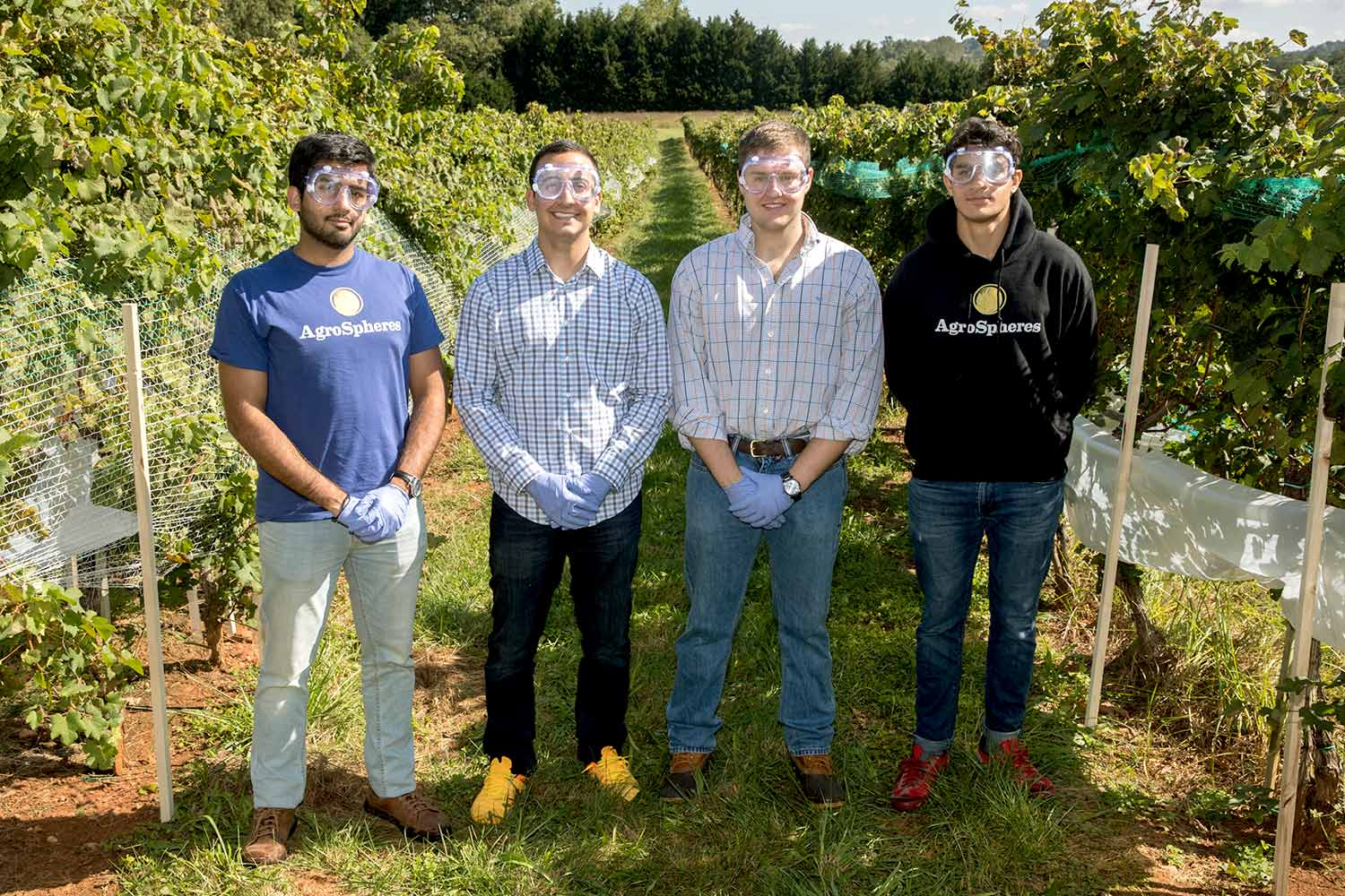 Four members of the Agrospheres team from left to right: Ameer Shakeel, Payam Pourtaheri, Zach Davis and Sepehr Zomorodi.