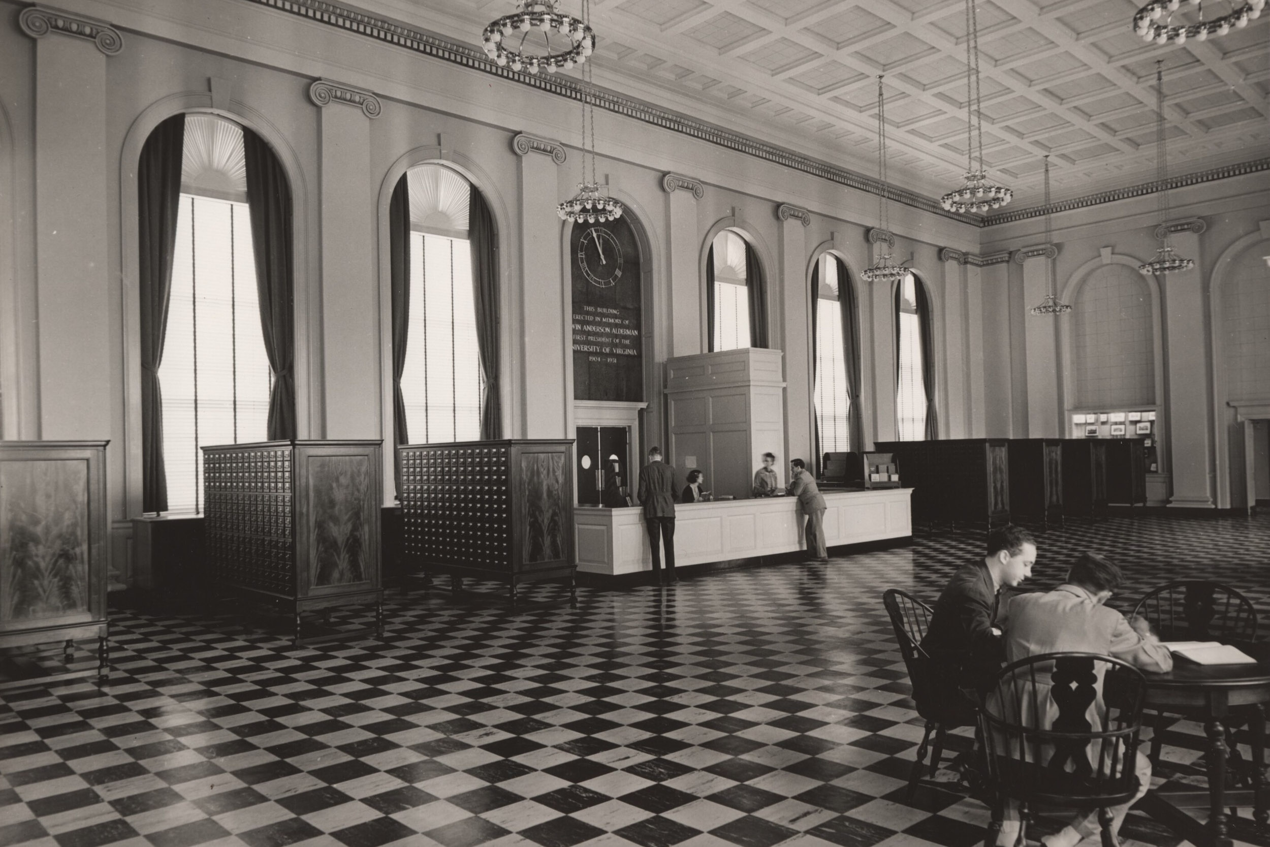 Interior of UVA's Alderman Library in 1938