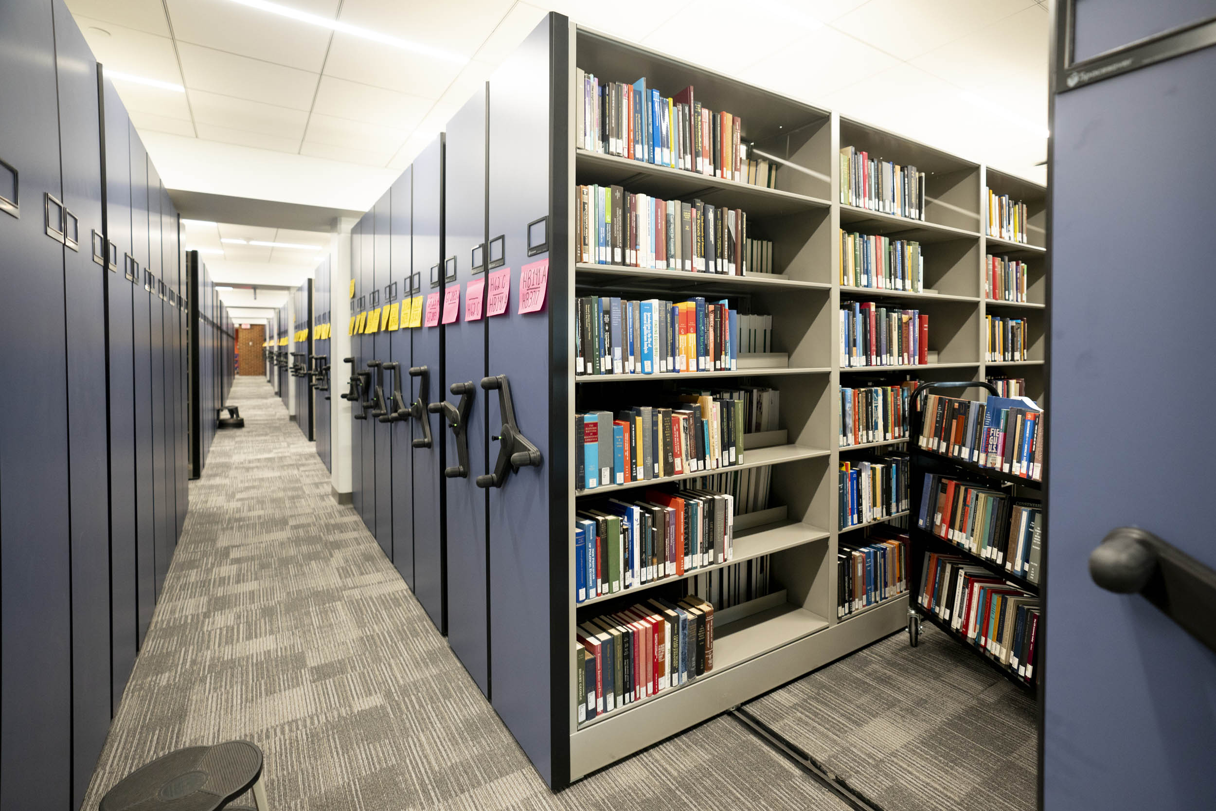 The new movable shelves on the first floor of Clemons Library can hold about 500,000 books.