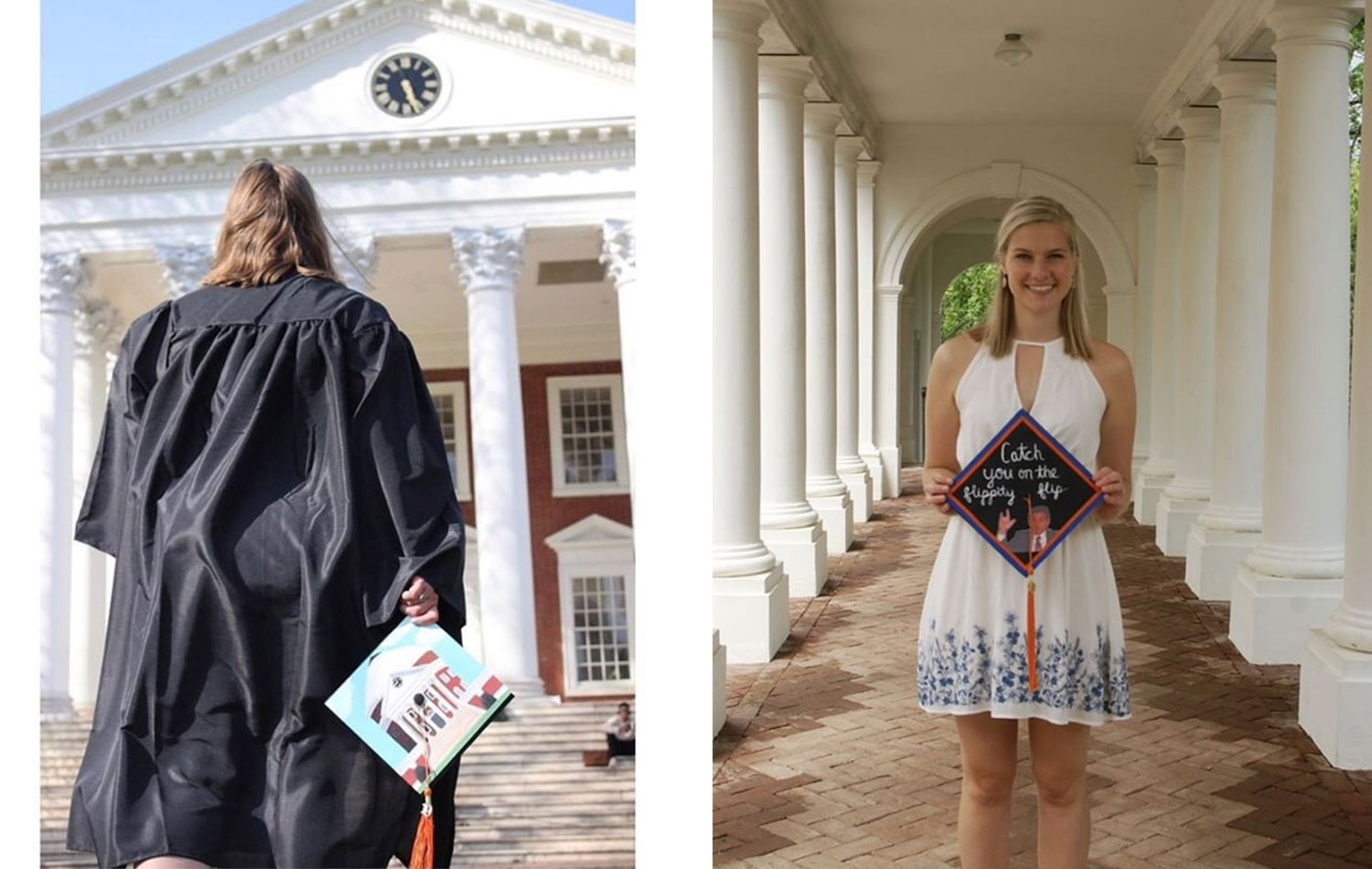Alex Greif used her cap to show off her favorite place on Grounds, while Hannah Kohl paid tribute to her favorite TV show.