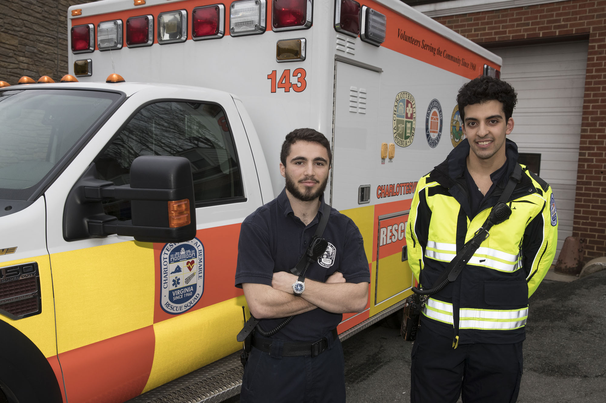 UVA students and Charlottesville-Albemarle Rescue Squad volunteers Alex Lupi (left) and Nazar Aljassar.