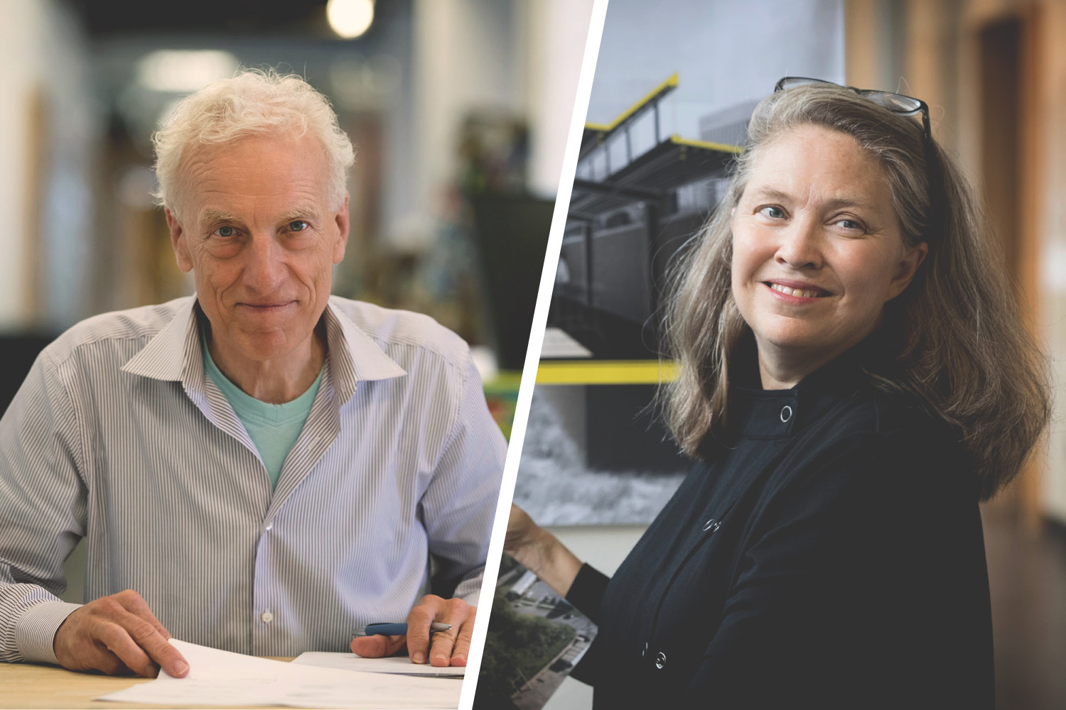 Architecture faculty members Alex Wall, left, and Phoebe Crisman, right, are leading research teams helping communities in the Hampton Roads area address and prepare for sea-level rise.