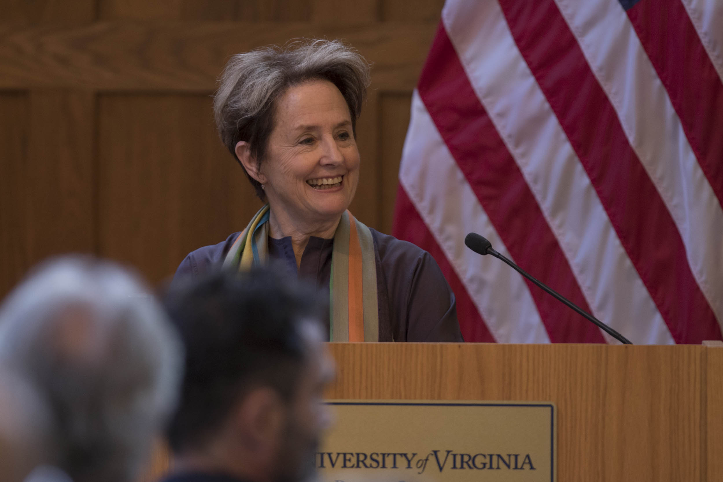 Alice Waters, recipient of the Thomas Jefferson Medal in Citizen Leadership, spoke Thursday at the Batten School. (Photo by Sanjay Suchak, University Communications)