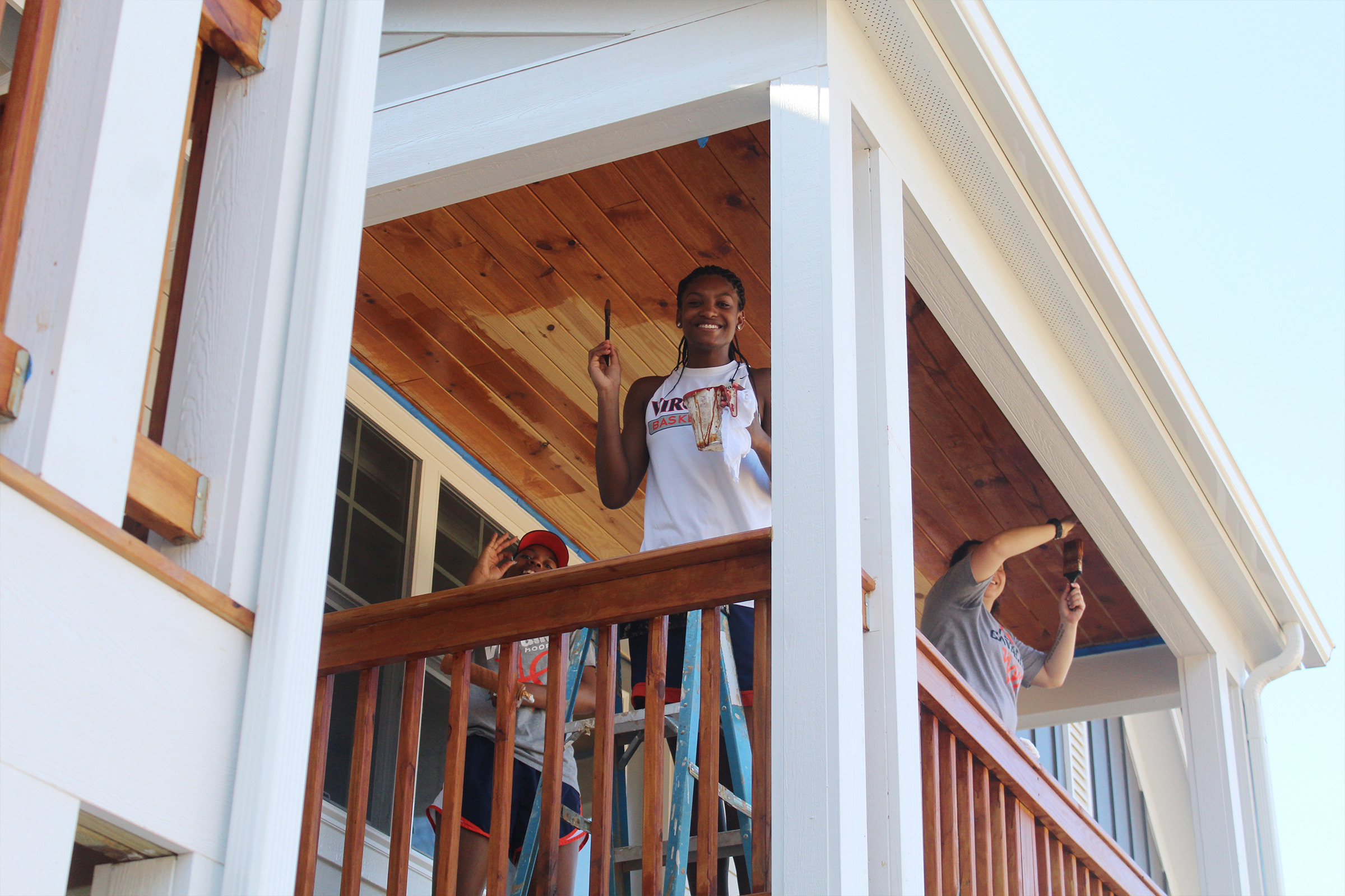 2018 graduate and former basketball player Aliyah Huland El helped out at a Habitat for Humanity site last year.