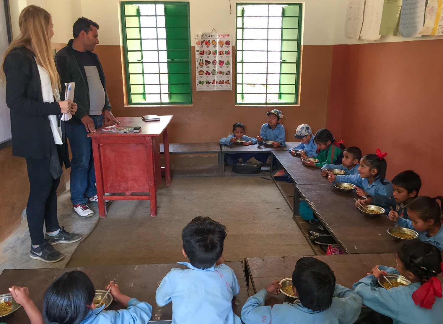 In Nepal over spring break, Althea Pickering visited schools to evaluate the country's School Health Nutrition program.