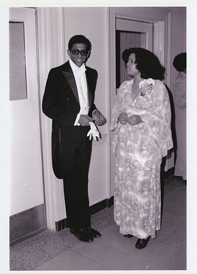 Alumni Thomas Dickerson and Christine Mckee at the 1975 Black Culture Week Ball, hosted by the Black Student Alliance at UVA. (Black Culture Week Ball, University of Virginia, February 1975. Photograph from a University Archives negative.) (RG-5/7/2.821))