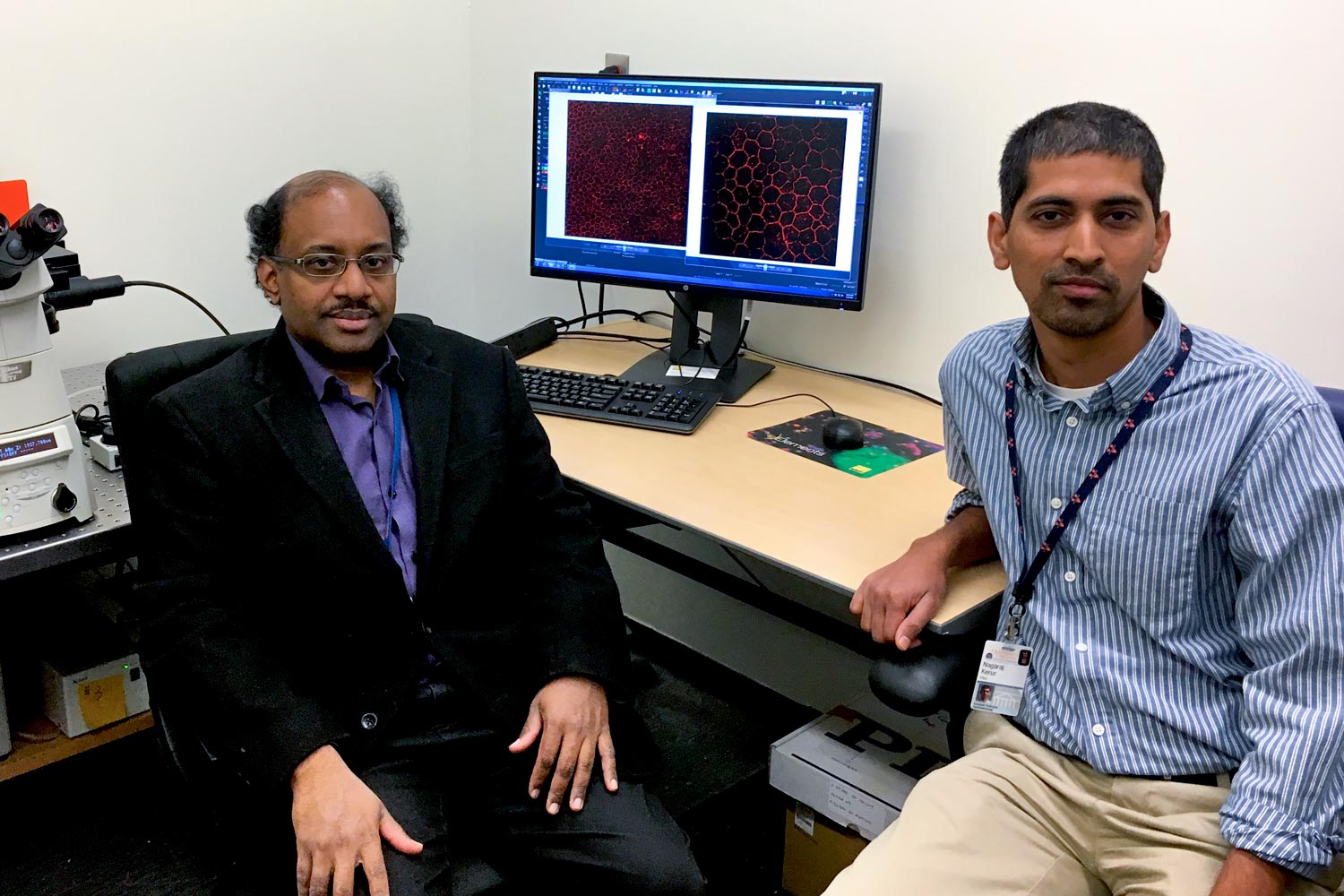 Dr. Jayakrishna Ambati, left, and colleague Nagaraj Kerur discovered an enzyme believed to be responsible for the inflammation that leads to blindness in patients with macular degeneration.