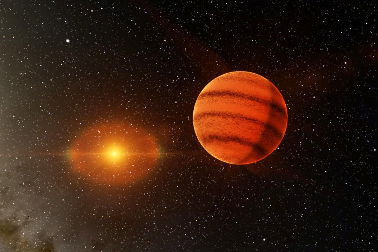 An artist's impression of a brown dwarf orbiting a star cooler than the sun