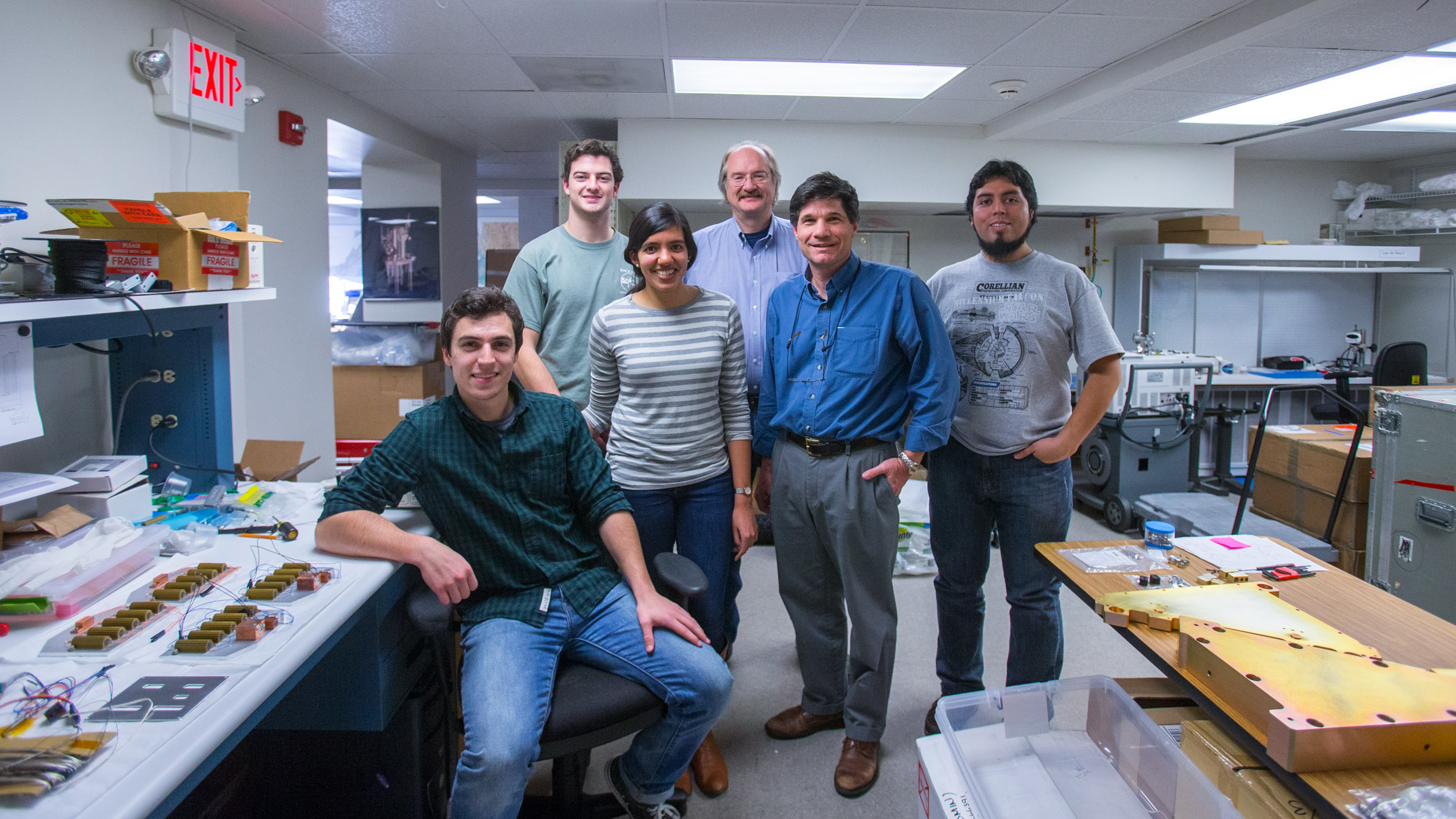 From left to right: Matthew Hall, Brady Anthony-Brumfield, Mita Tembe, Steven Majewski, John Wilson and Juan Pablo Colque Saavedra, only some of the team working at UVA to build the APOGEE instrument.