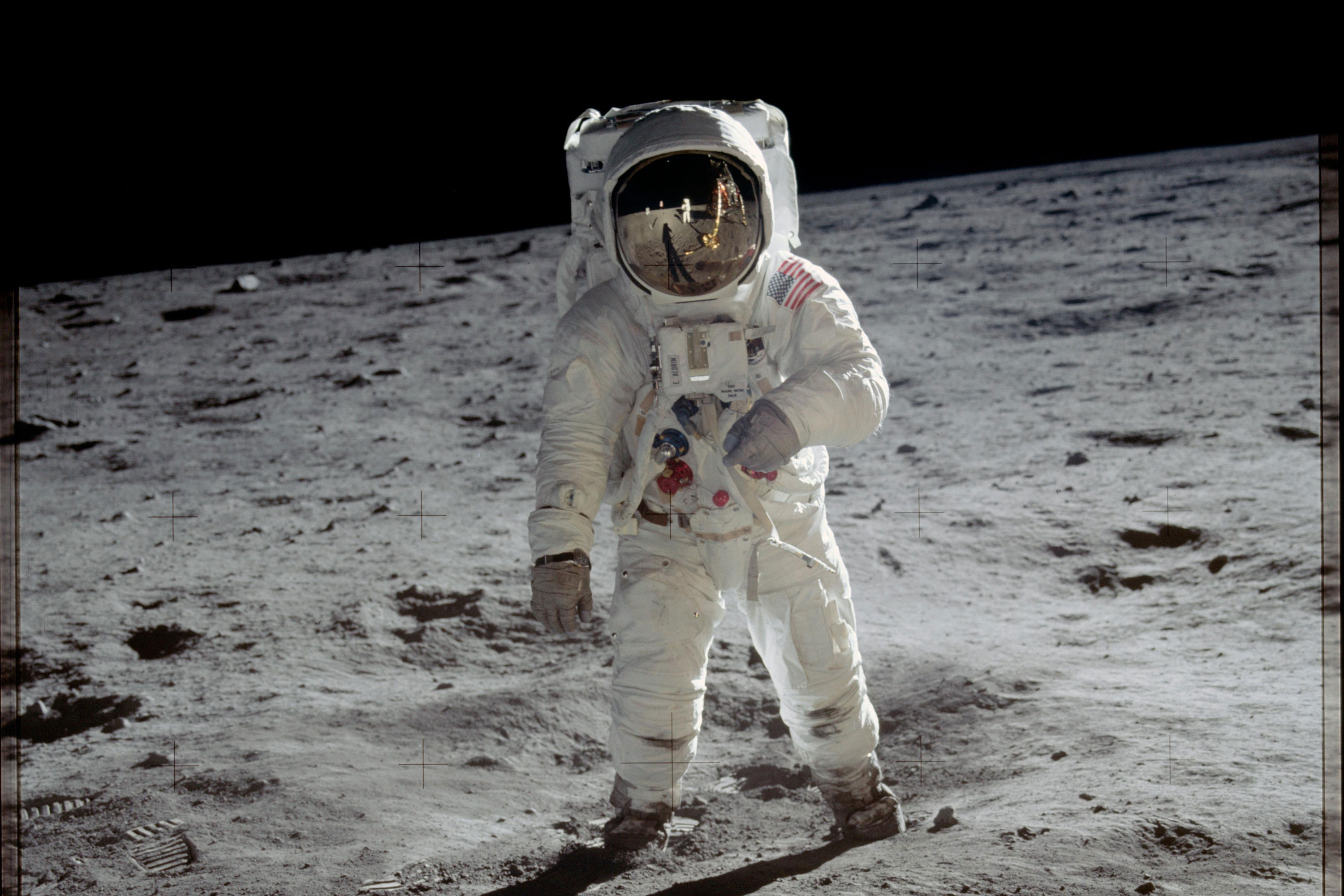 """On July 20, 1969, astronauts Neil Armstrong and """"Buzz"""" Aldrin were the first people to walk on the moon. Aldrin is pictured here."""