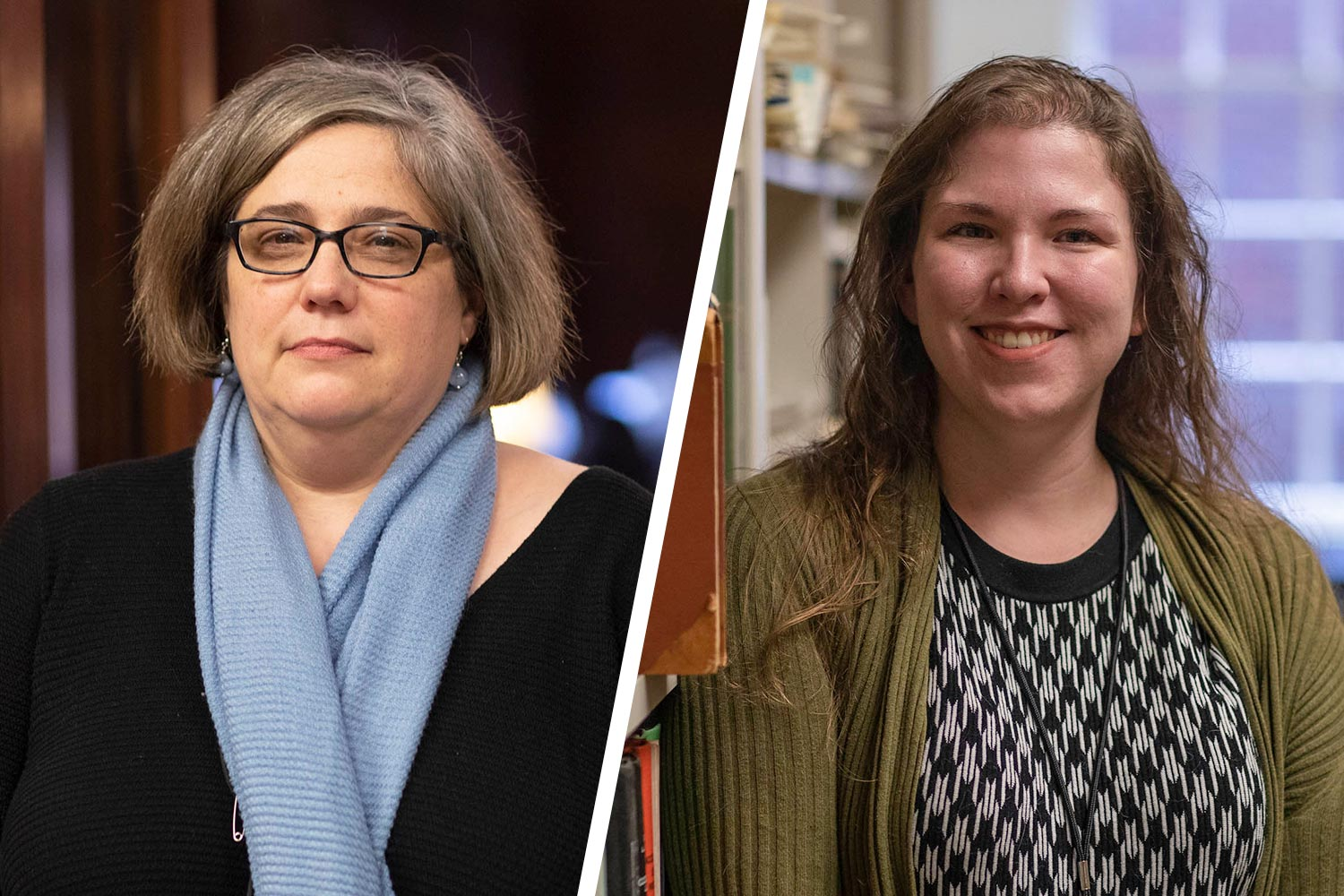 "April Joy Baker, left, of the Fiske Kimball Fine Arts Library and Christine Slaughter, who works at the Charles L. Brown Science & Engineering Library, joined the ""Waking Up White"" book group."