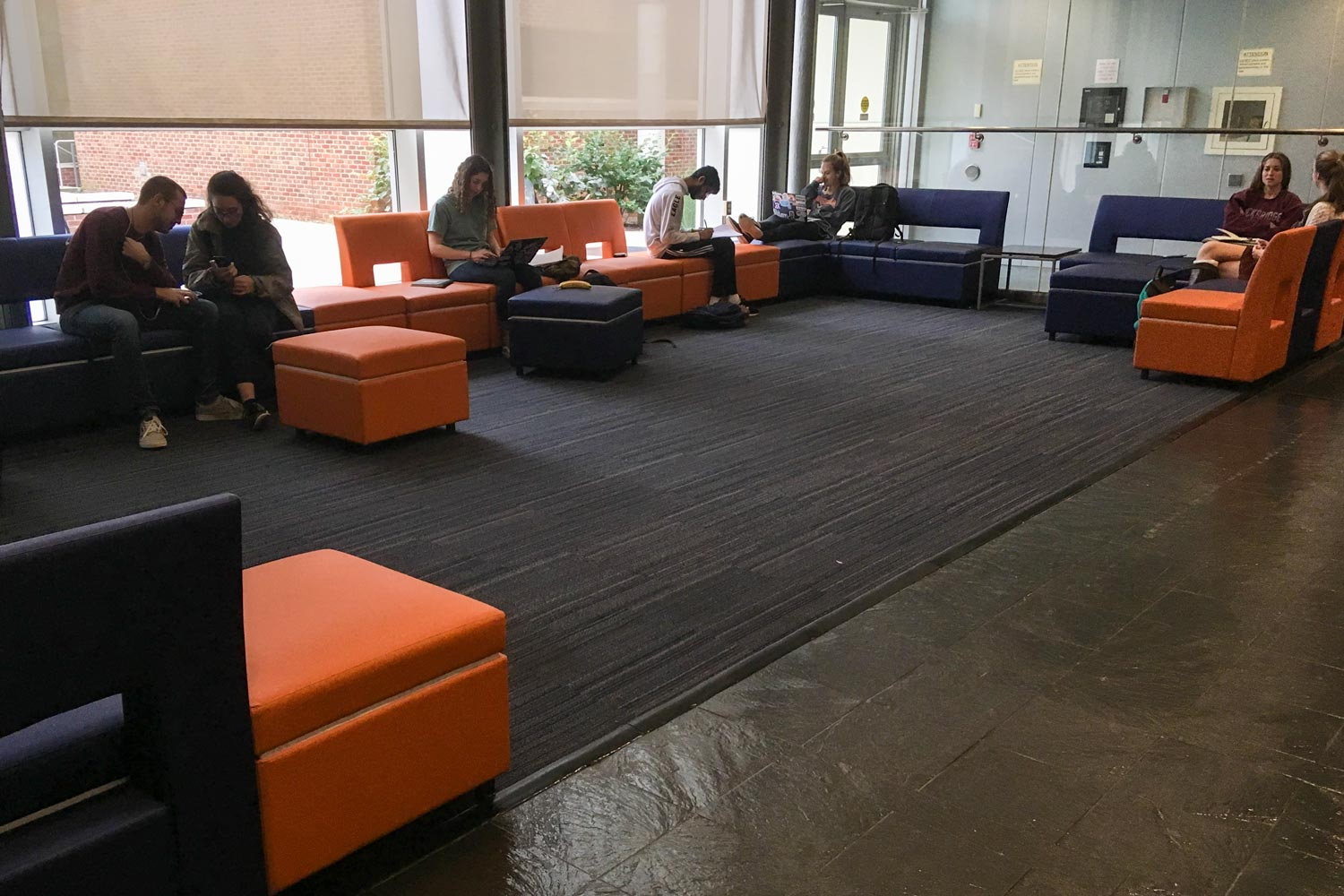 Students can spread out on the comfy UVA-colored furniture at Argo Tea.