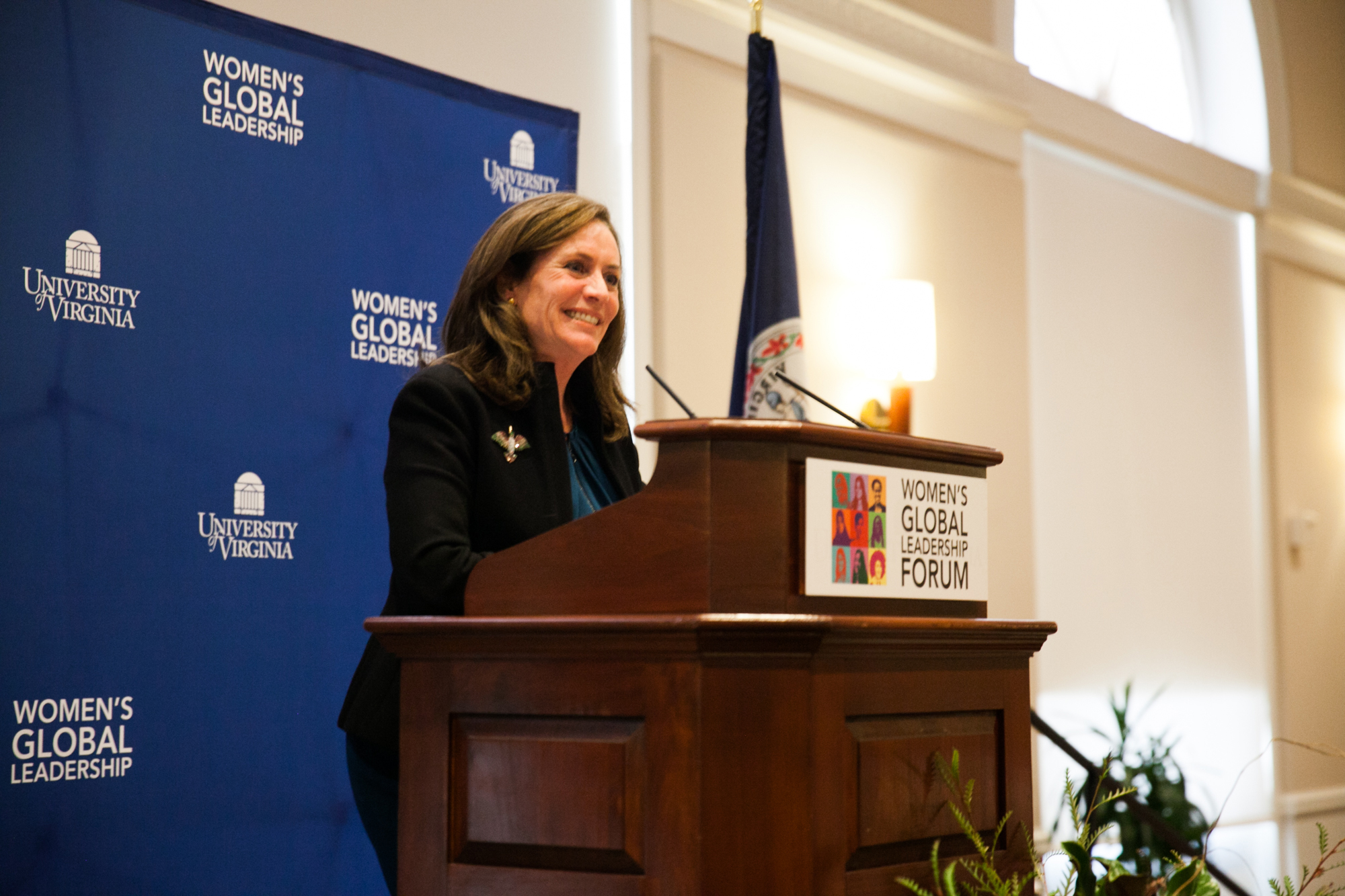 Dorothy McAuliffe, wife of Virginia Gov. Terry McAuliffe, spoke Tuesday at the Women's Global Leadership Forum. (Photo by Tom Daly)