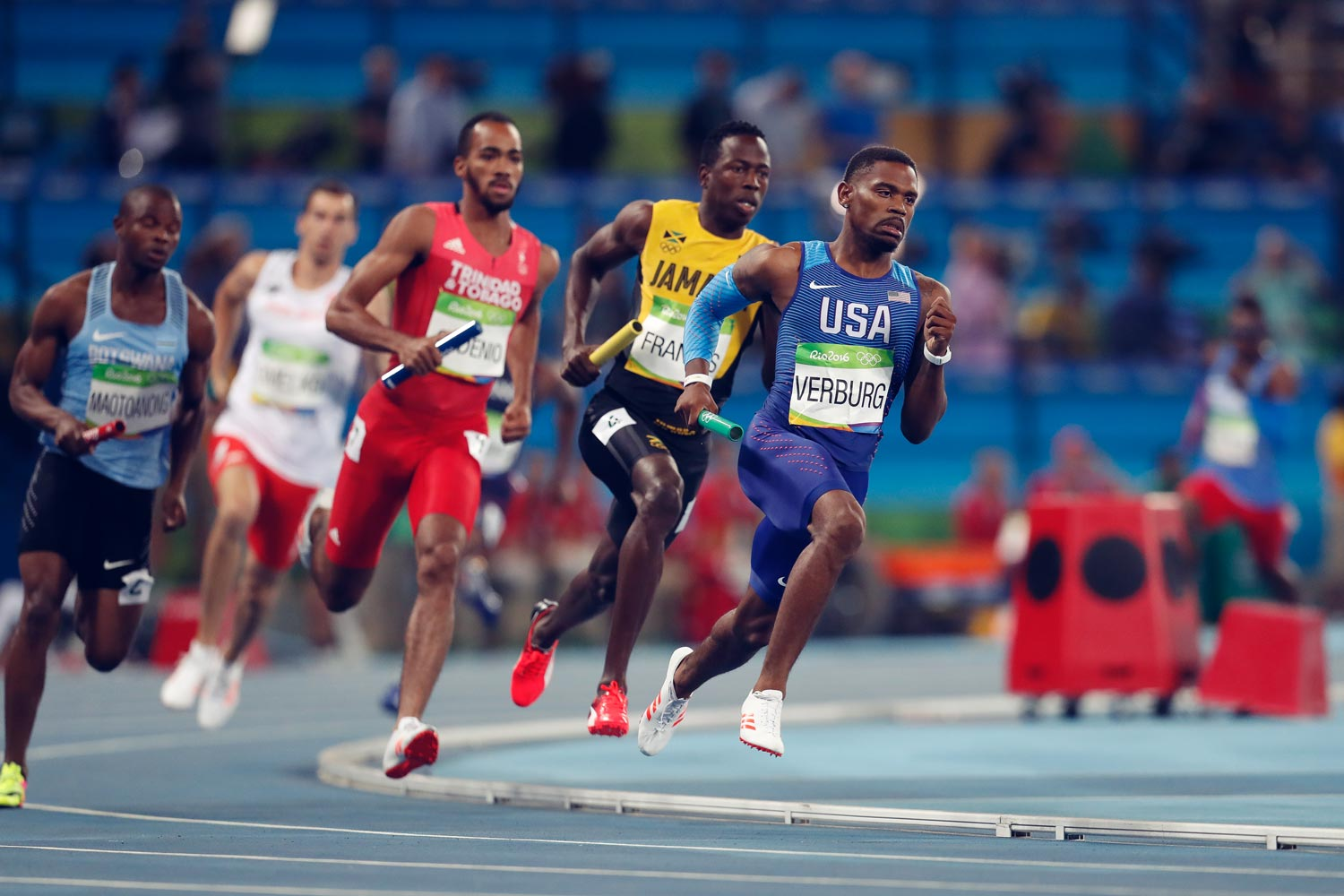 Runners compete in the 4x400 meter relay at the 2016 Olympics in Rio de Janeiro. There may be long-term benefits to missing out on Olympic gold, a new UVA study suggests.