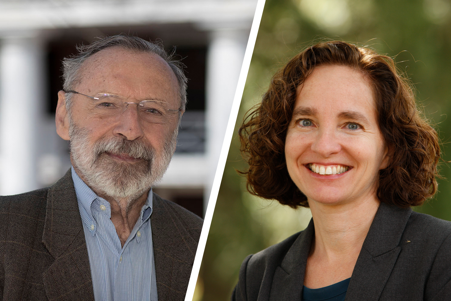 History professor emeritus Joseph Miller, left, and School of Law Dean Risa Goluboff become the University's 37th and 38th fellows of the American Academy of Arts and Sciences. (Photos by Dan Addison, left, and UVA School of Law)