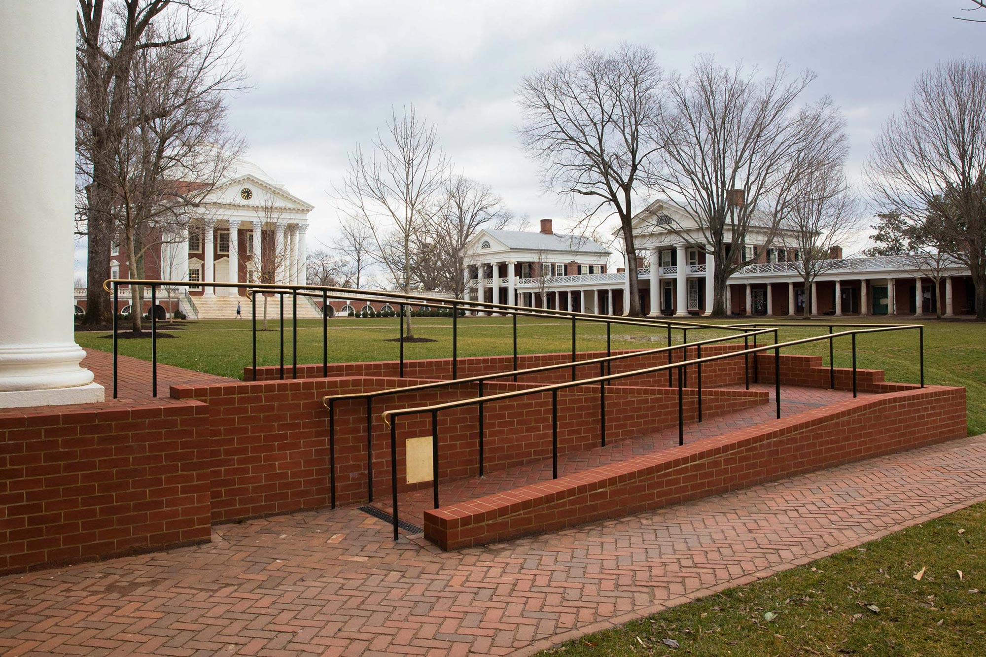 : In 2019, the University added two ramps on the West side of the Lawn, adjacent to Pavilions V and IX. (Photos by Dan Addison, University Communications)