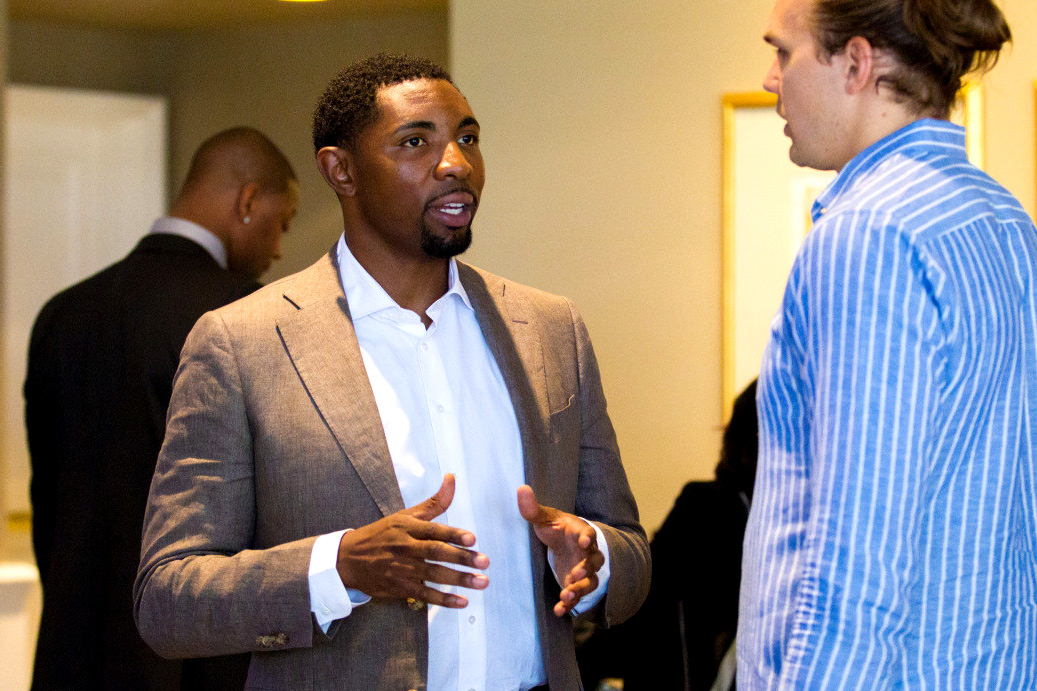 """Former UVA basketball star Roger Mason Jr. thought he might be headed for a career in an NBA front office, but working for the players' union became his """"dream job,"""" he said. (Photo courtesy UVA Athletics)"""