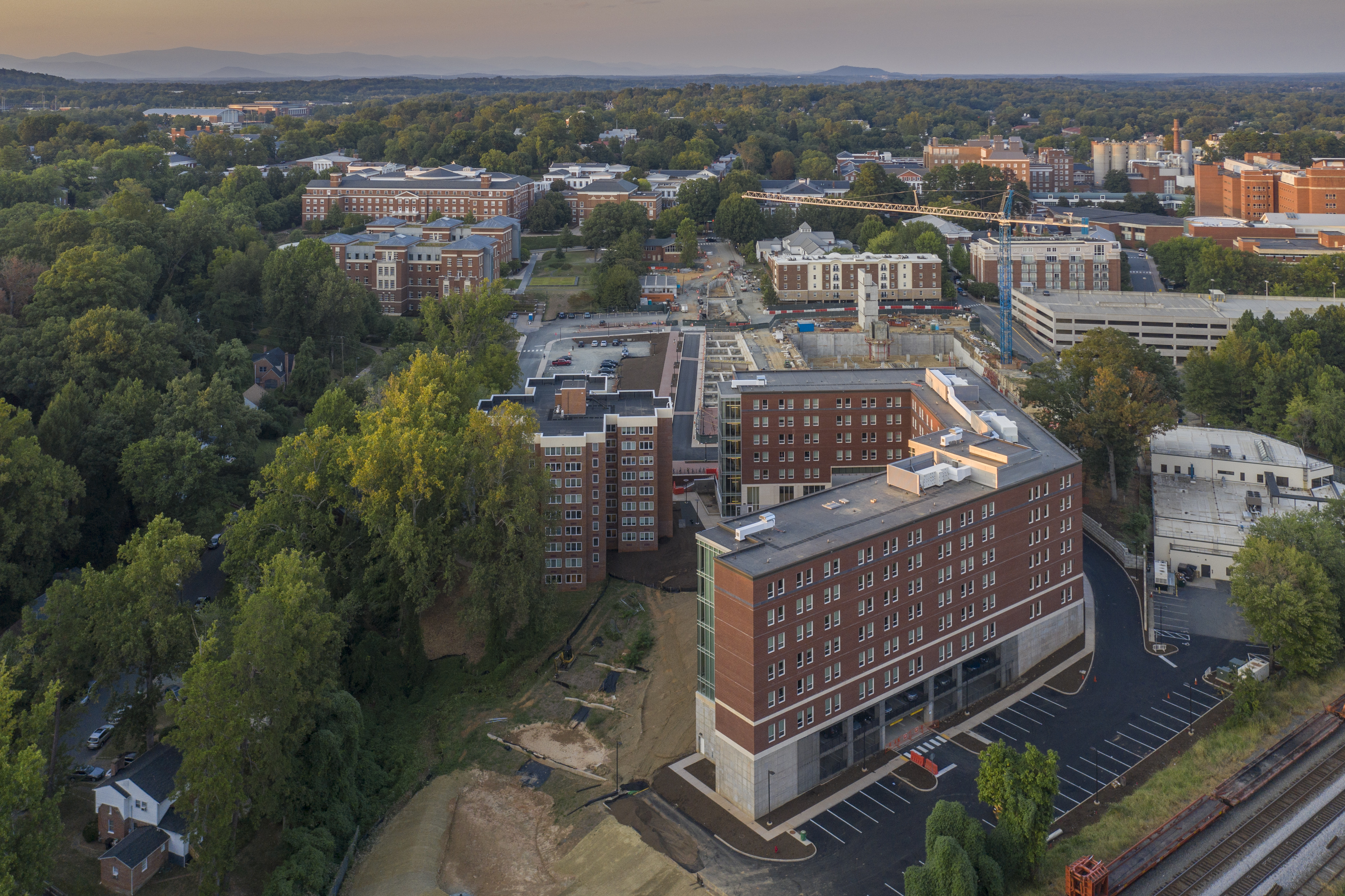 The construction of the Bond House residence hall, foreground, is among the many strategic projects supported by the University's recent bond sales. (Photo by Sanjay Suchak, University Communications)