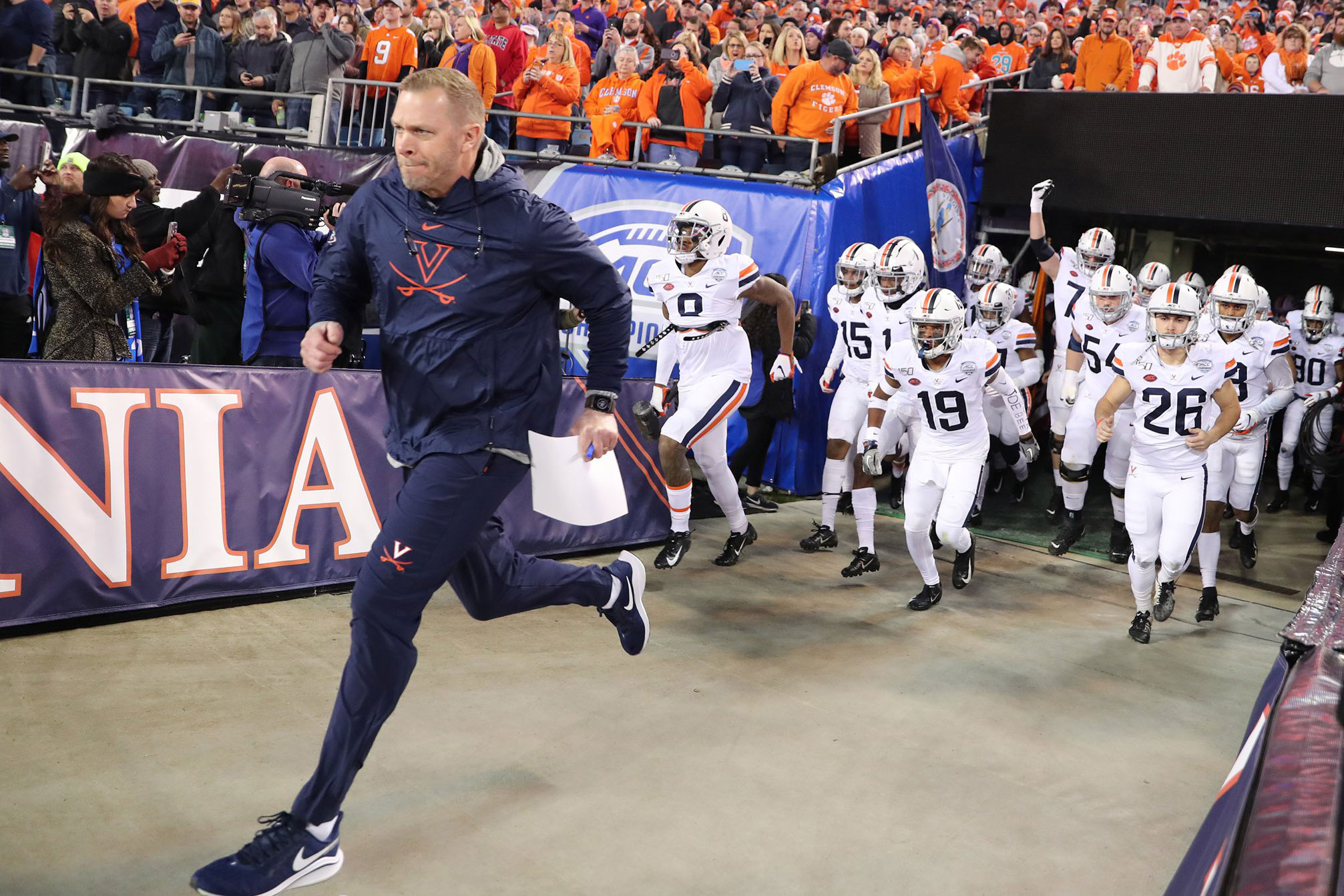Coach Bronco Mendenhall and the UVA Cavaliers will face Florida on Dec. 30 in the Capital One Orange Bowl, the Hoos' first appearance in the storied New Year's Six game. (Photo by Matt Riley, UVA Athletics)