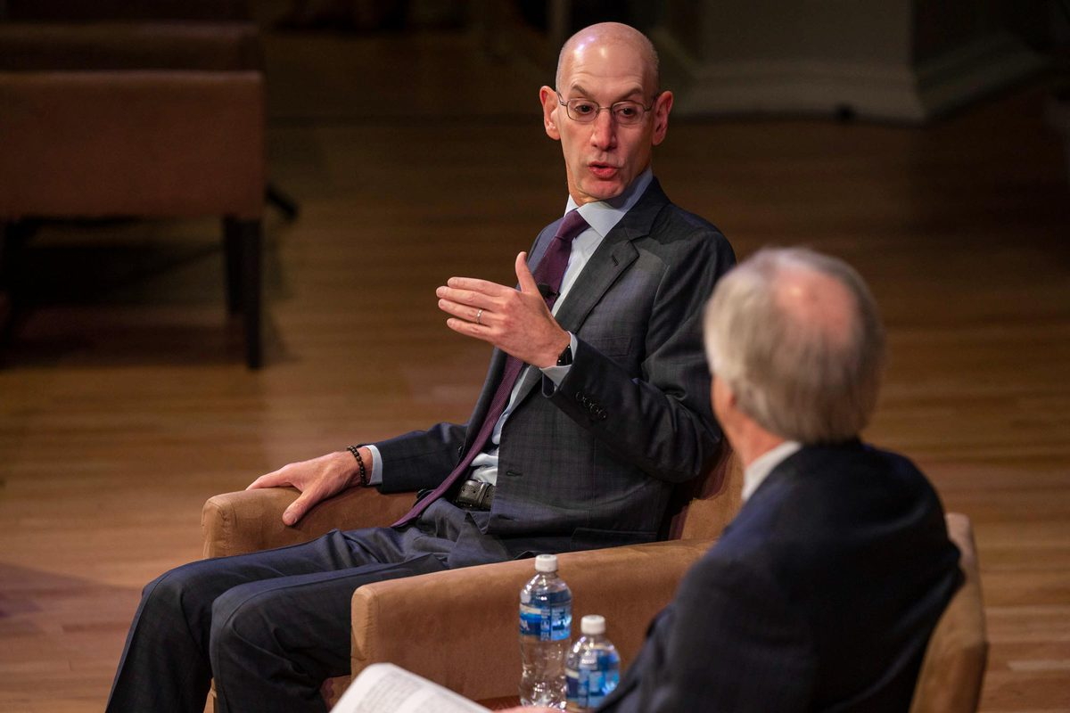 NBA Commissioner Adam Silver spoke at Old Cabell Hall Friday morning.