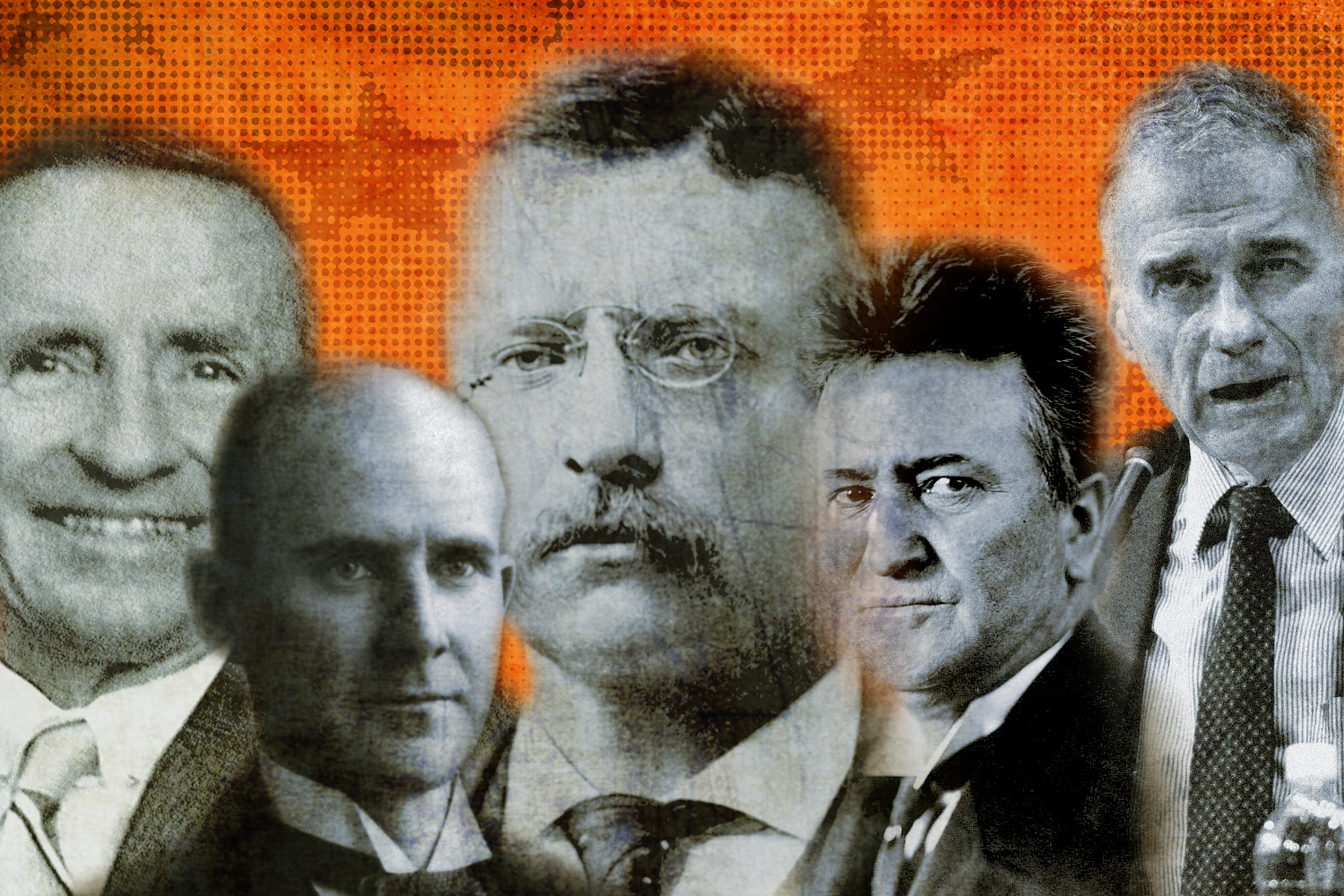 From left, former third-party presidential candidates Ross Perot, Strom Thurmond, Theodore Roosevelt, Robert LaFollete and Ralph Nader.