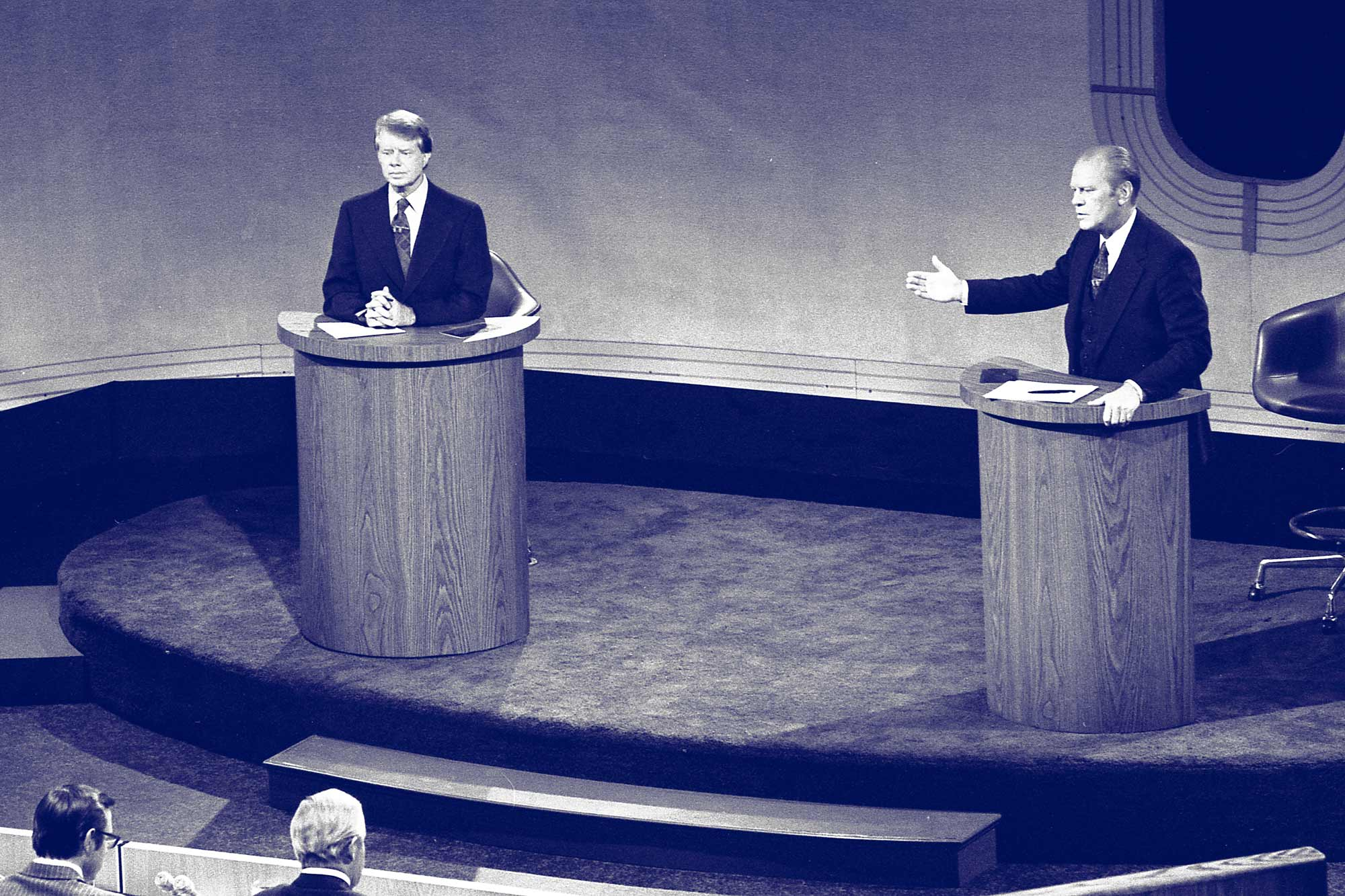 Democratic nominee Jimmy Carter, left, and incumbent President Gerald Ford square off in a debate before the 1976 election.