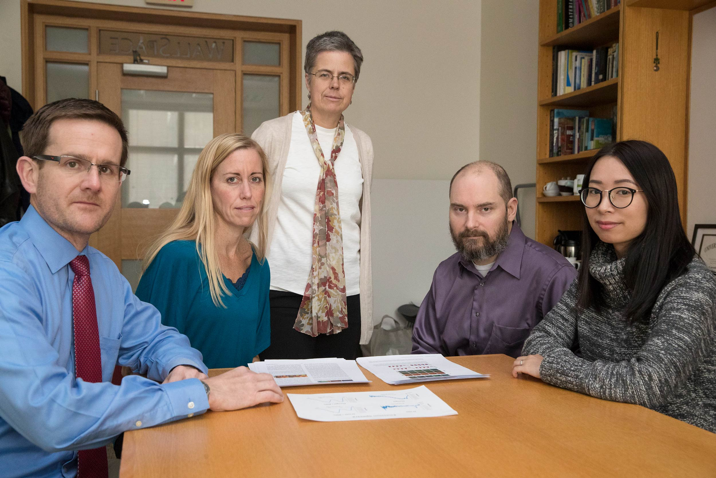 Some of the research team: left to right, faculty members Patrick Cottler, Shayn Peirce-Cottler and Cassandra Fraser, lab specialist Anthony Bruce, and grad student Meng Zhuang.
