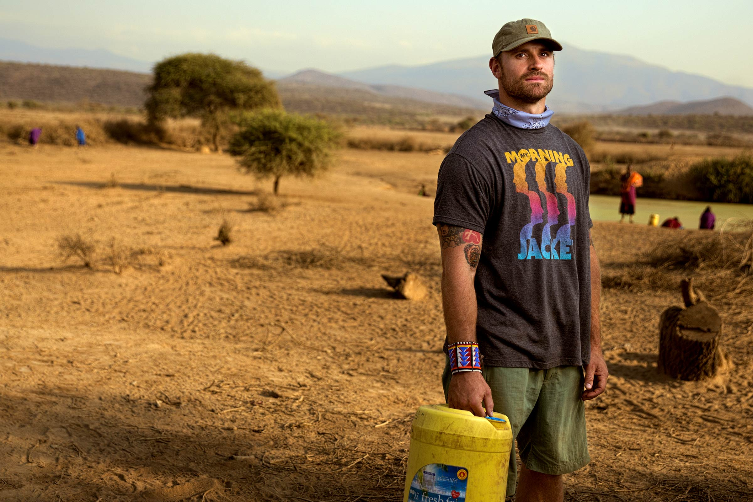 Chris Long at work in Tanzania with the Waterboys Initiative he founded, which installs deep borehole wells to help provide clean drinking water in East Africa.