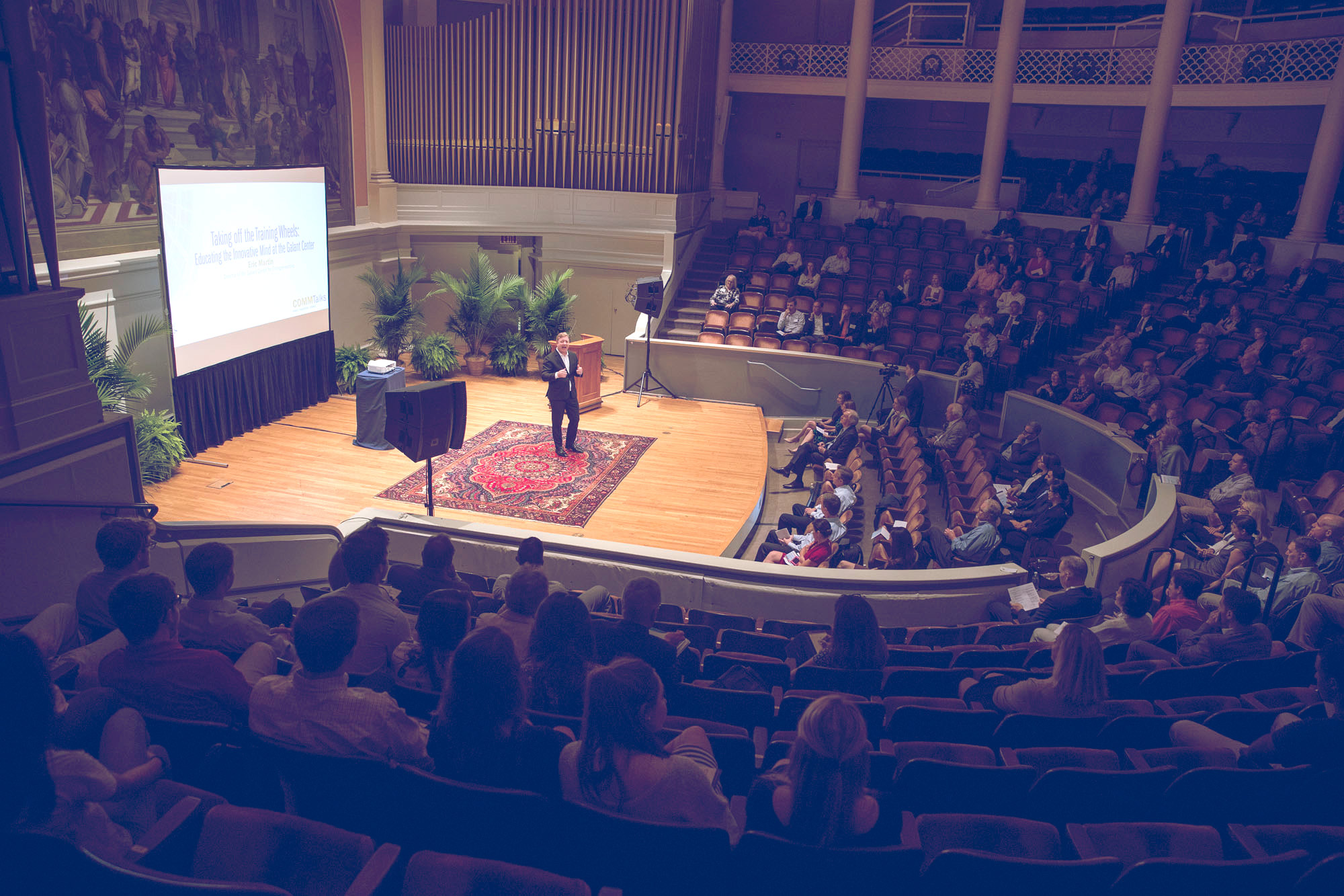 Ten faculty members from the McIntire School of Commerce took the stage Friday for TED-style talks sharing their research on a wide range of issues.
